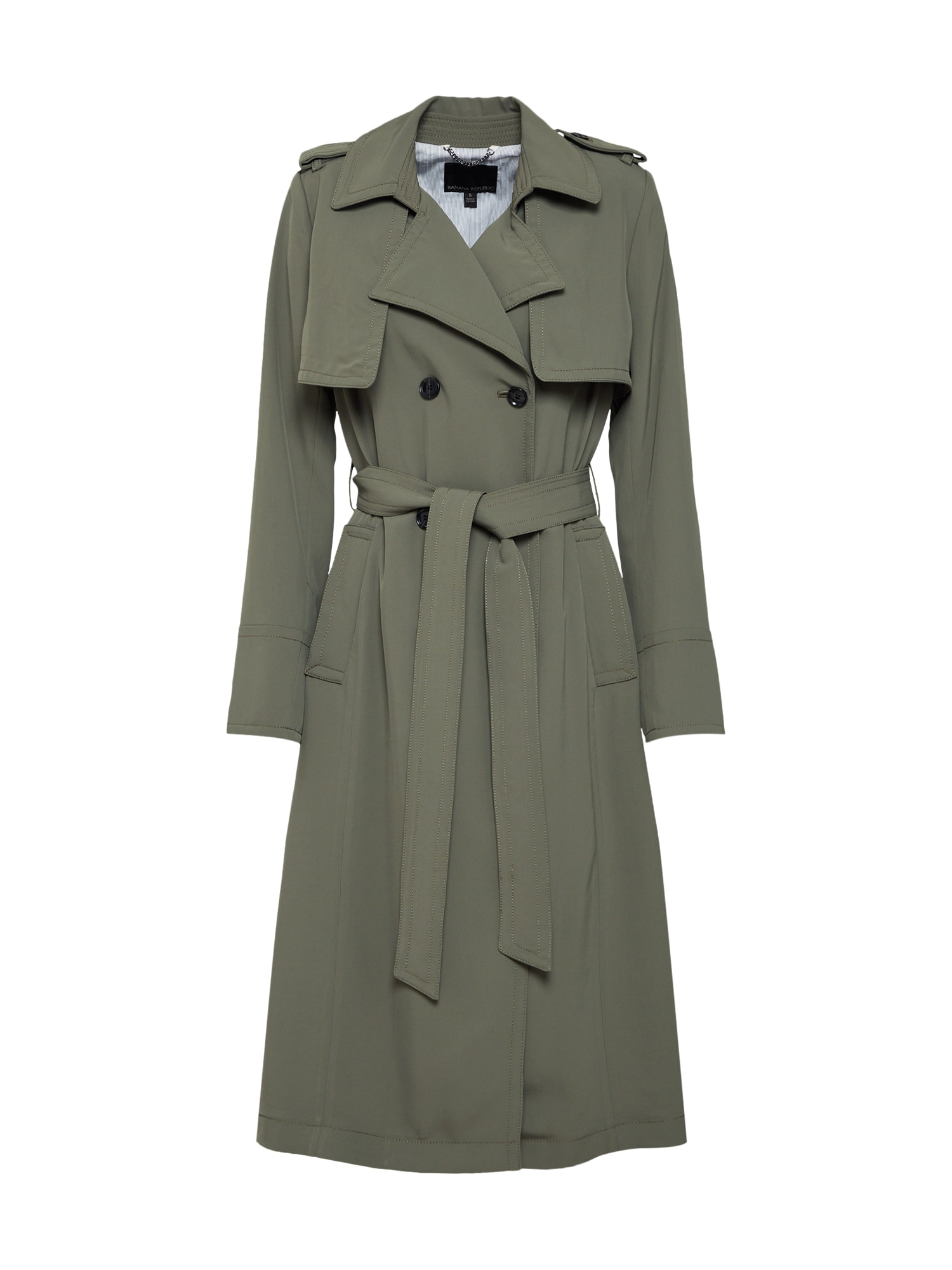 Přechodný kabát MAXI TRENCH olivová Banana Republic