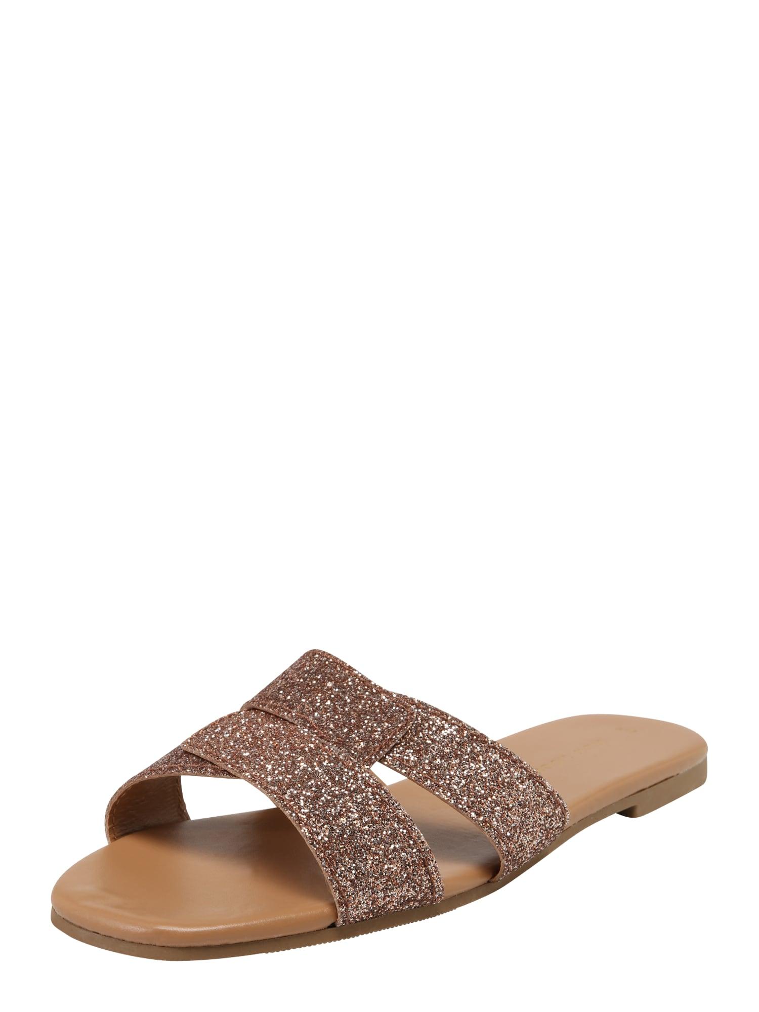 Pantofle INTERWEAVE zlatá růžová NEW LOOK