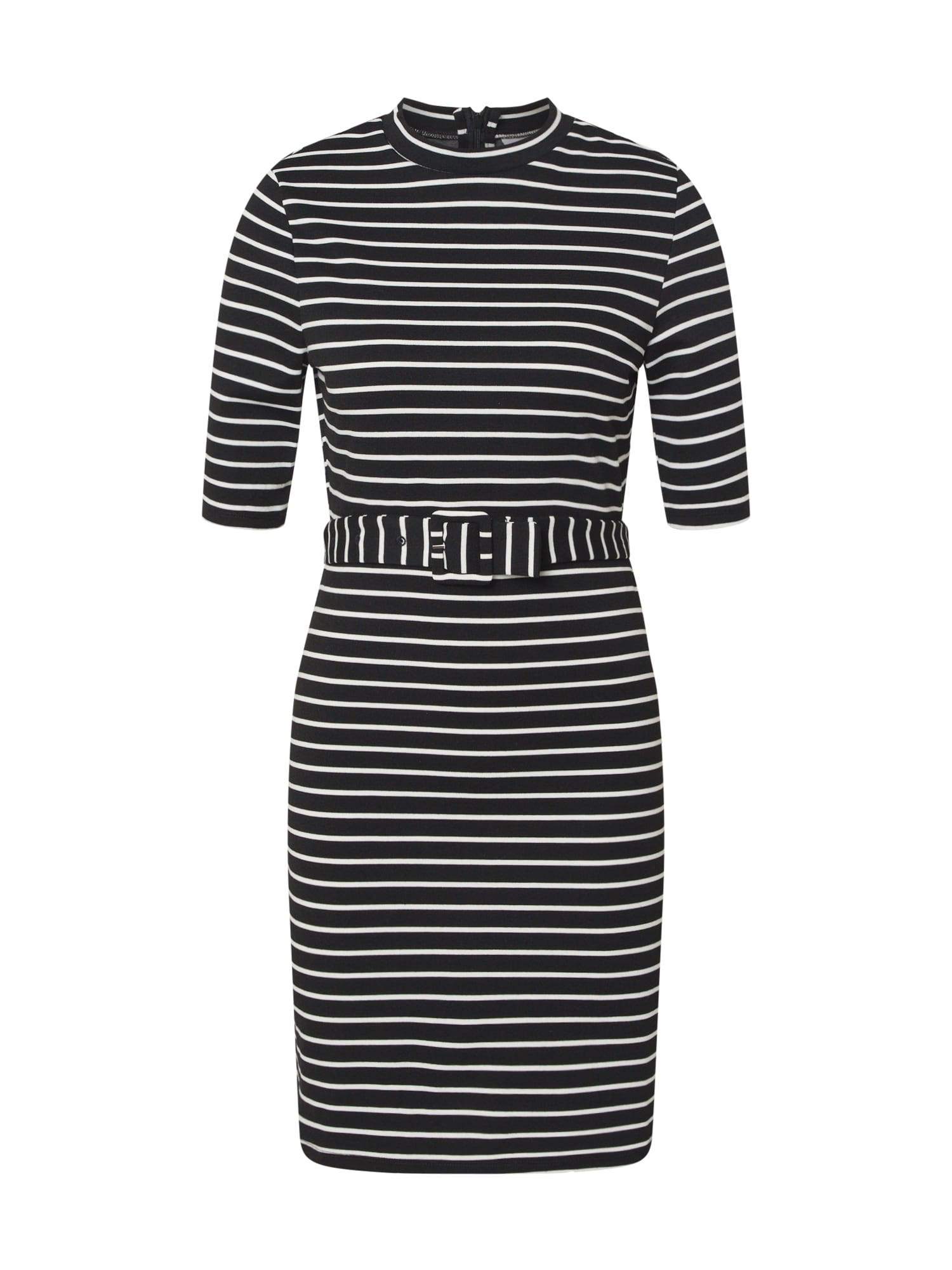 ONLY Šaty 'ONLFRIDA 3/4 BELTED DRESS SWT'  biela / čierna