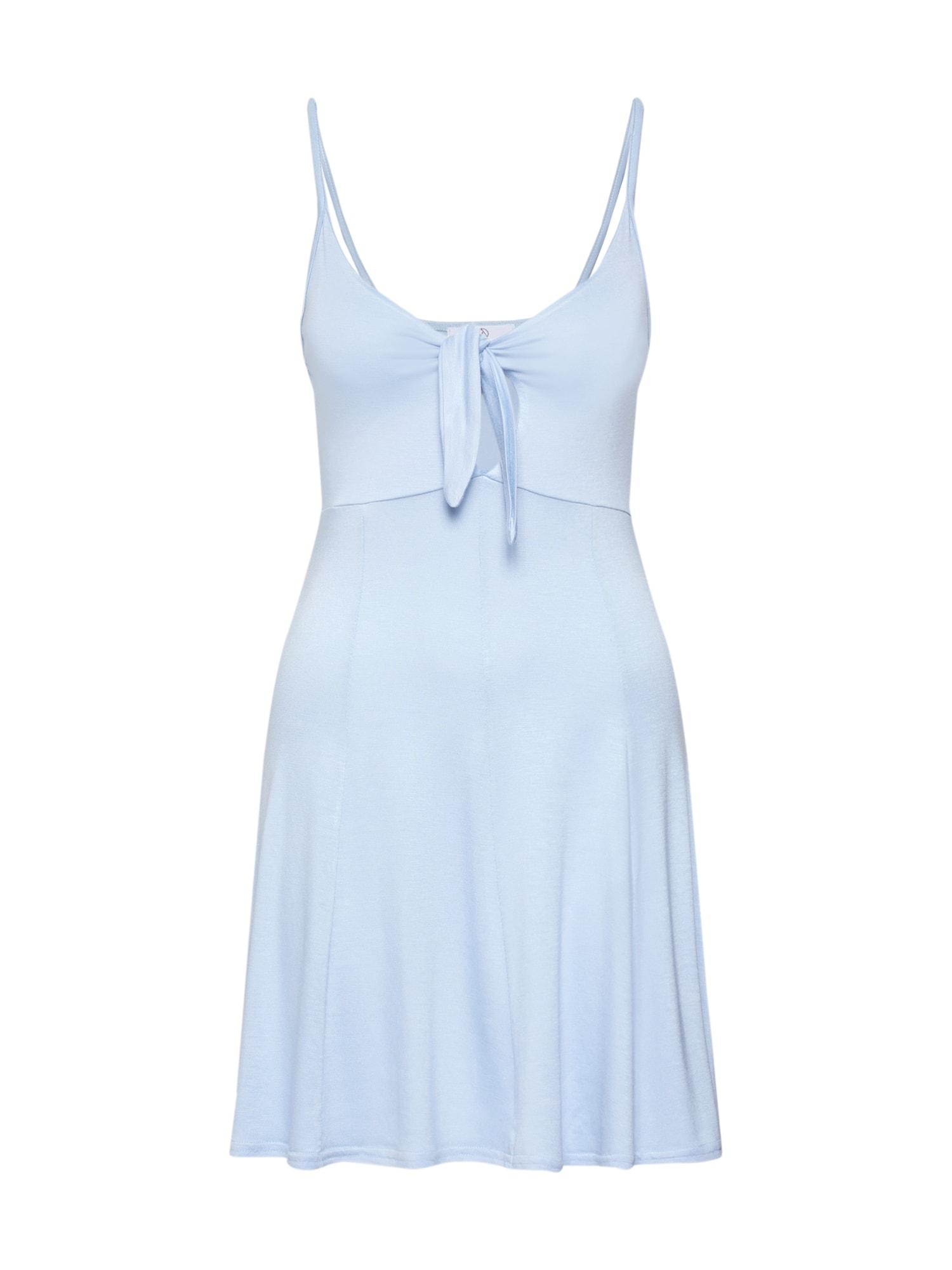 Šaty STRAPPY TIE FRONT SKATER DRESS modrá Missguided