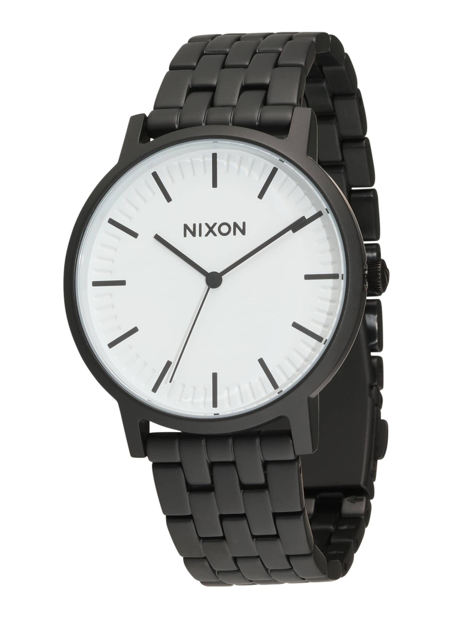Analogové hodinky Porter černá bílá Nixon