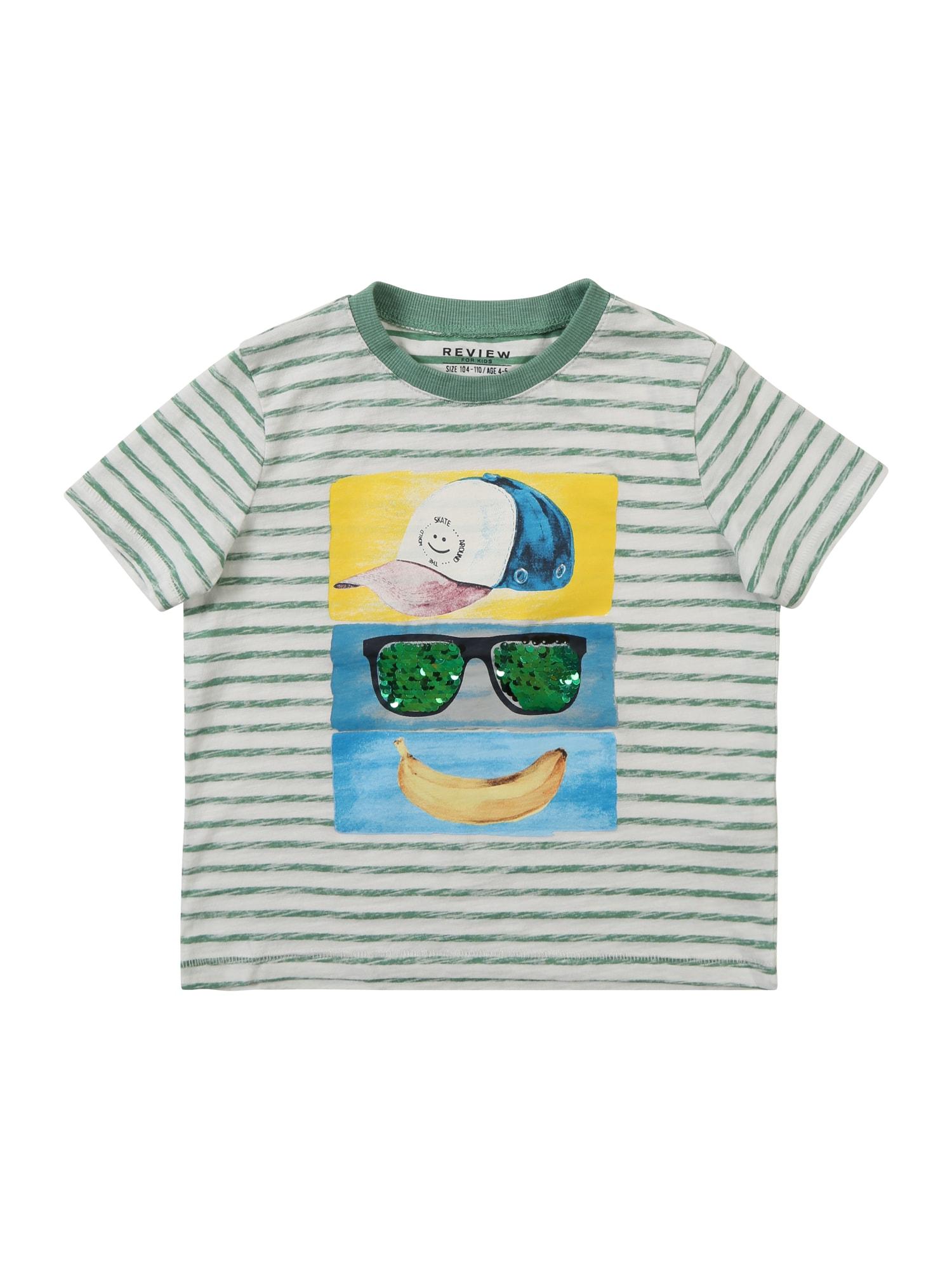 Tričko KB-19-T215 zelená bílá REVIEW FOR KIDS