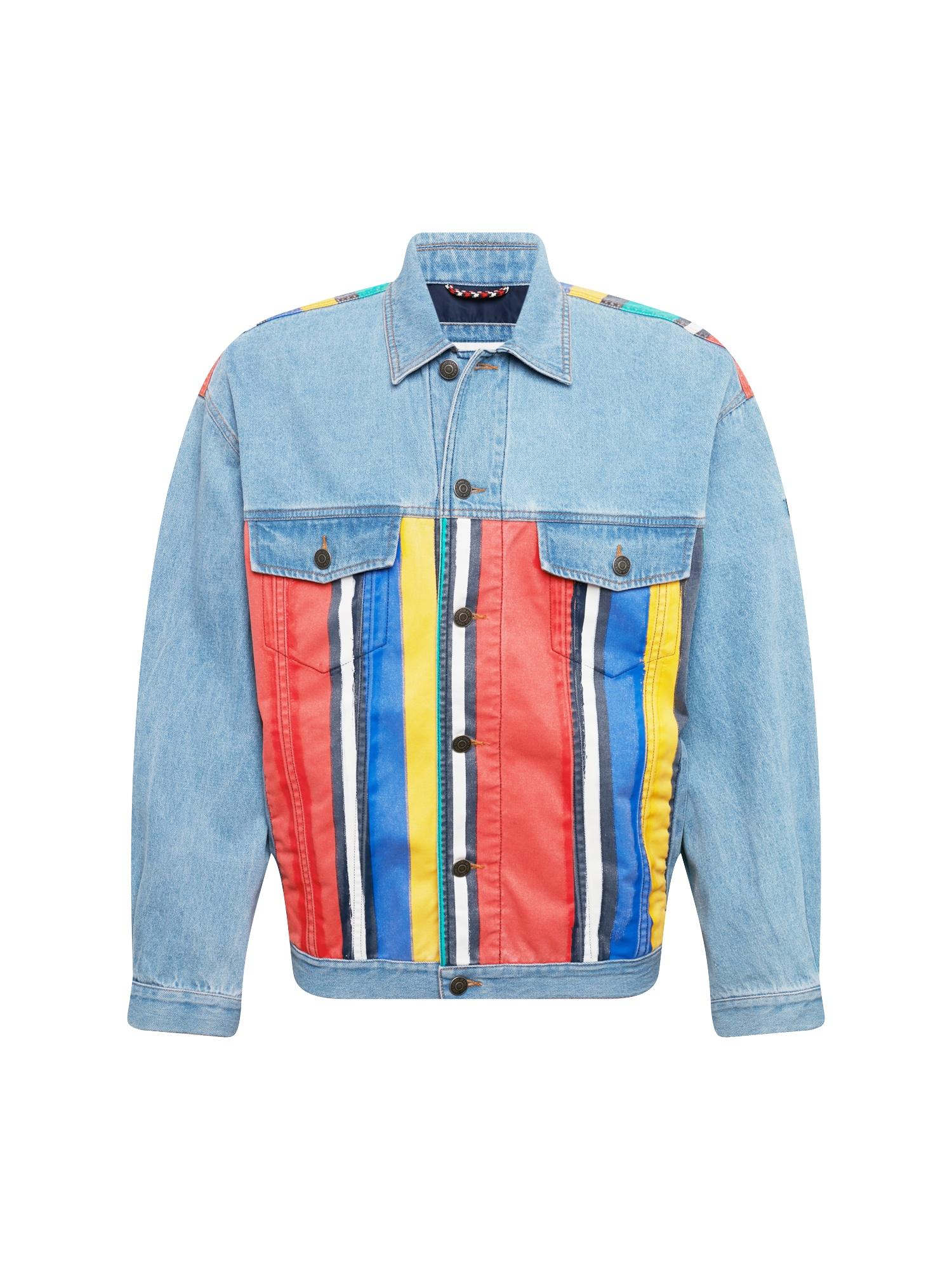 Přechodná bunda modrá džínovina mix barev Tommy Jeans