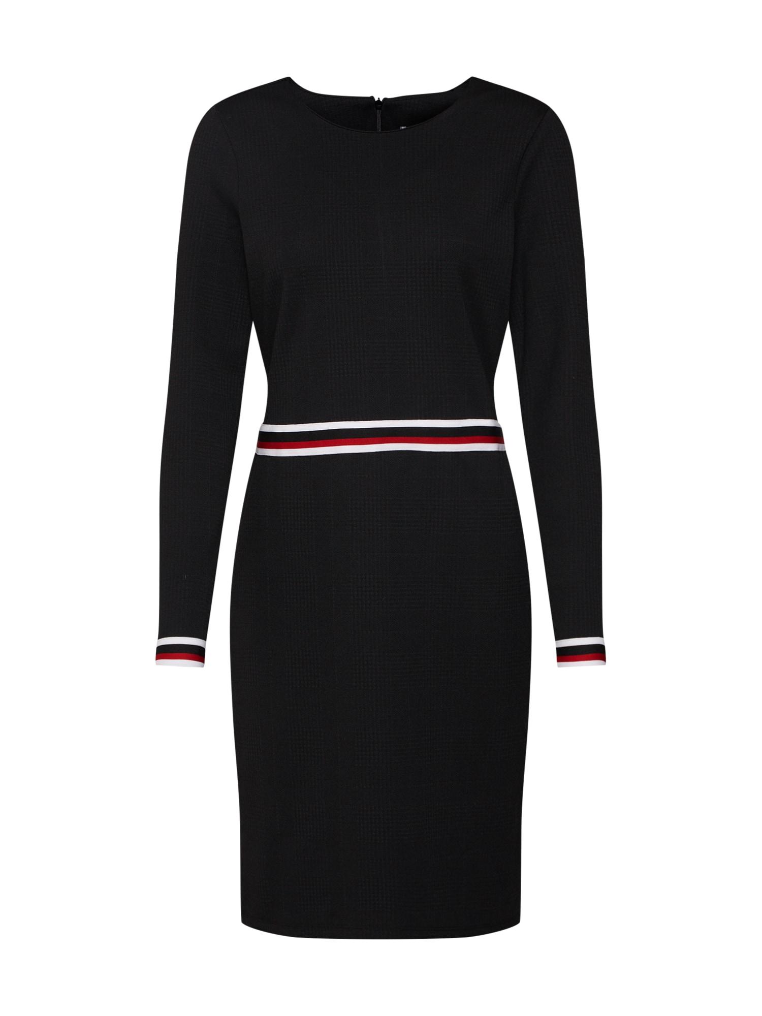 Úpletové šaty červená černá EDC BY ESPRIT