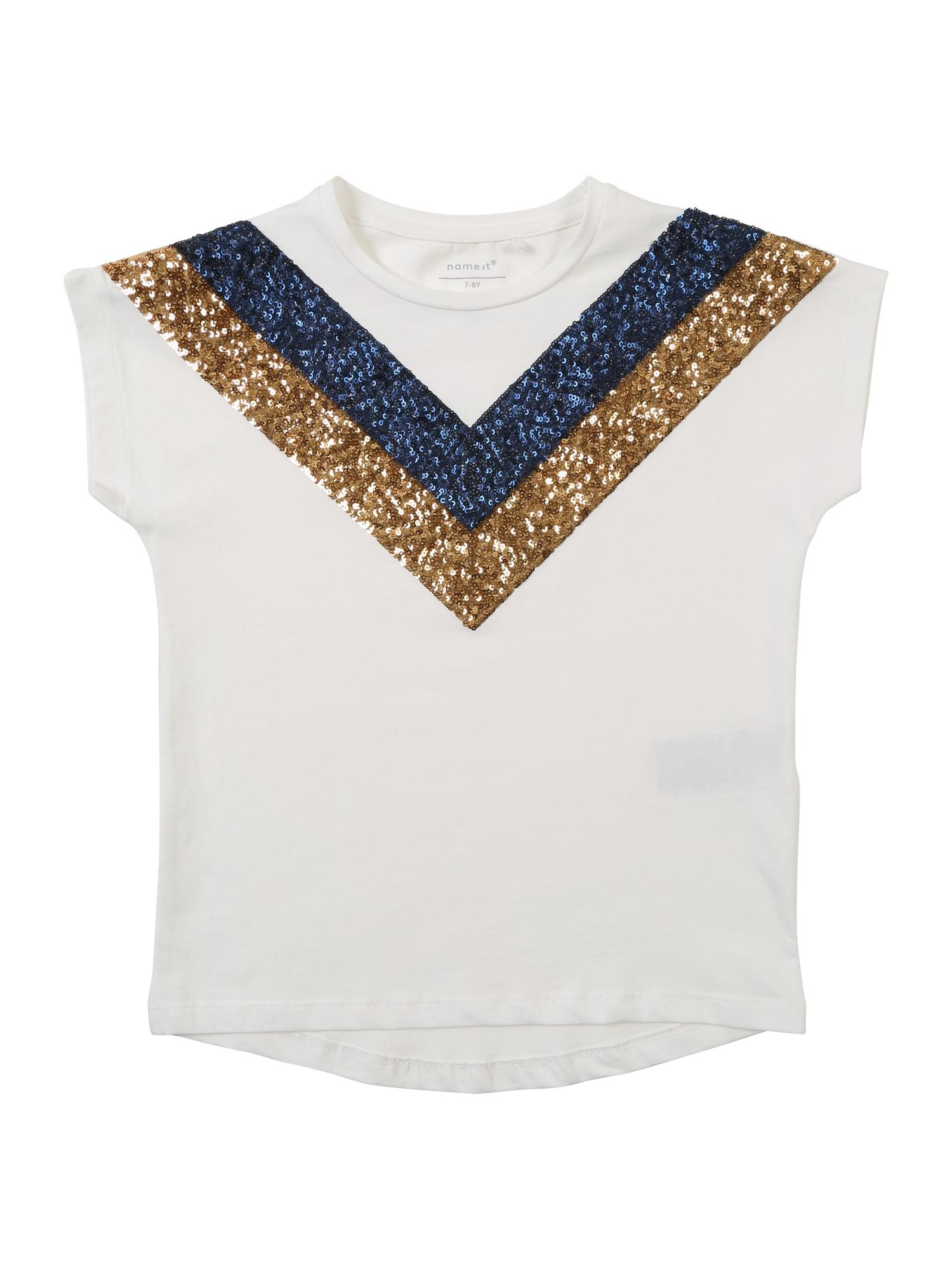 Tričko NKFKRISTBJORG tmavě modrá zlatá bílá NAME IT