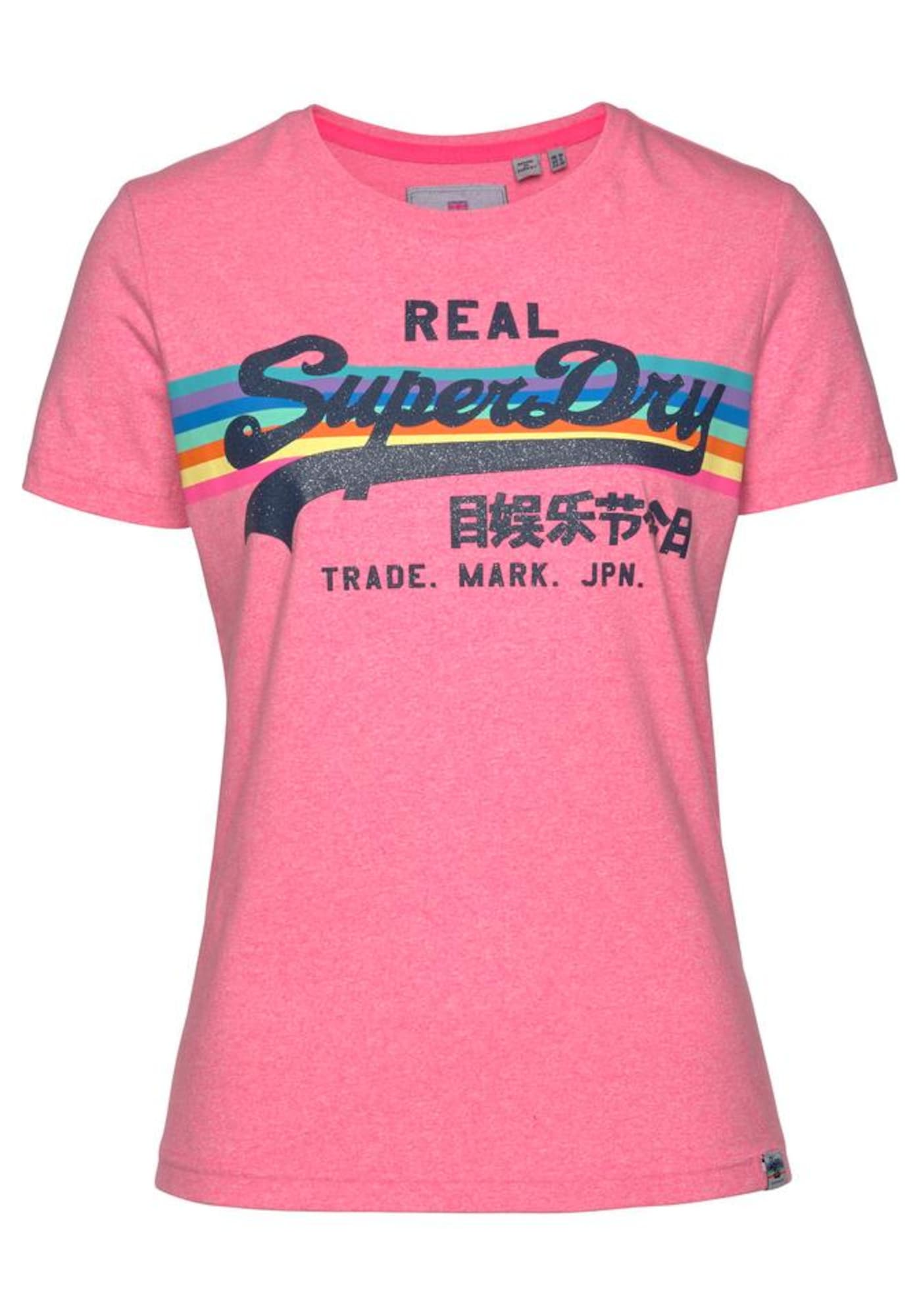 Tričko V Logo Retro Rainbow Entry mix barev pink Superdry