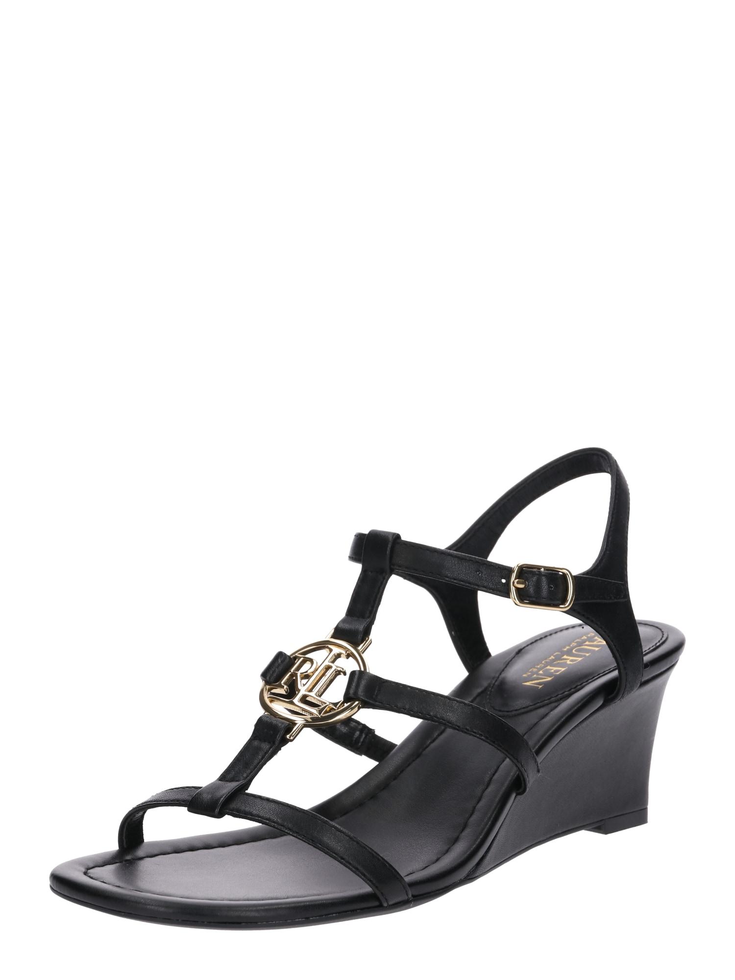 Páskové sandály Elina černá Lauren Ralph Lauren