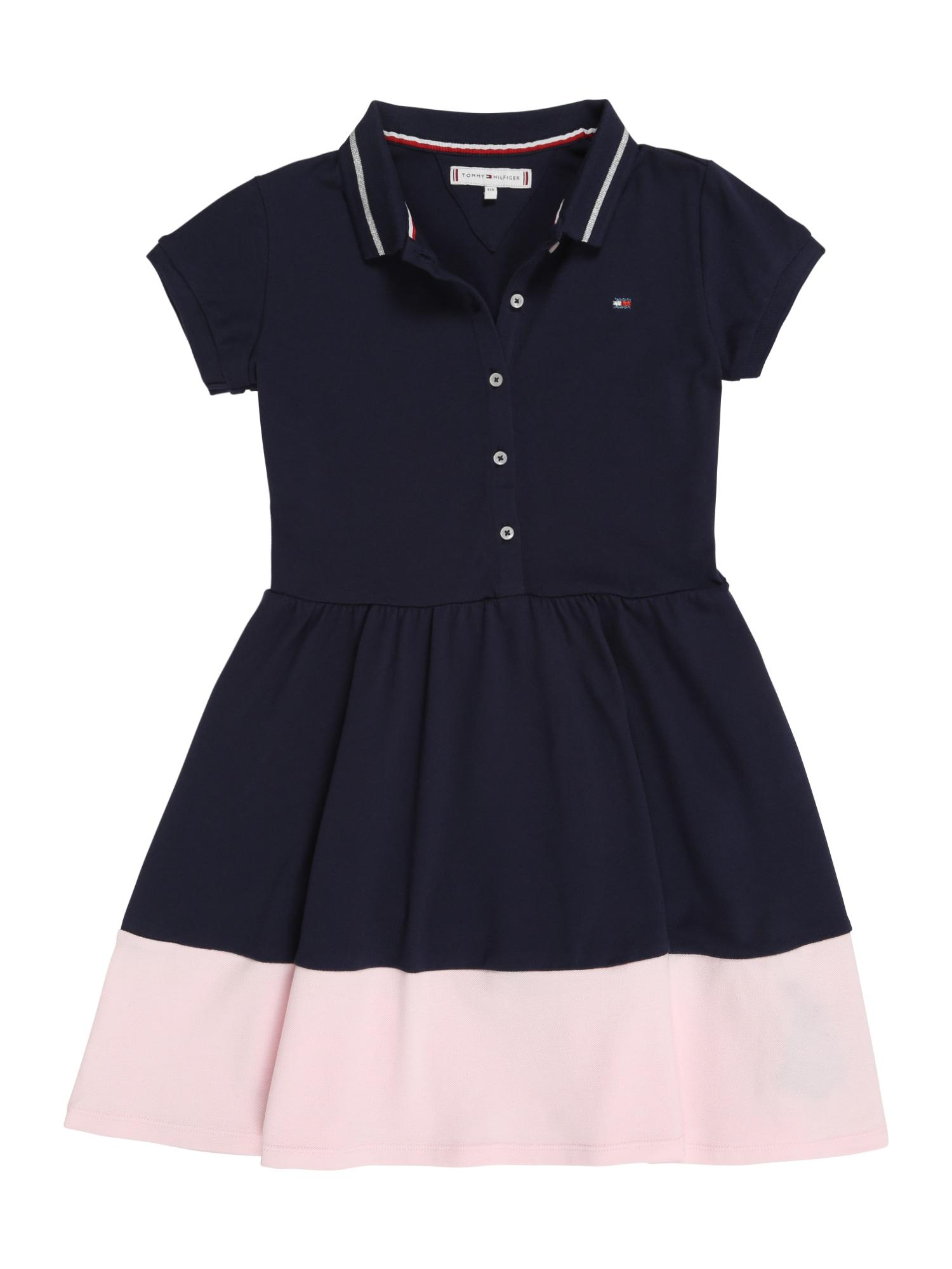 Šaty M ESSENTIAL FLARE POLO DRESS SS růžová černá TOMMY HILFIGER