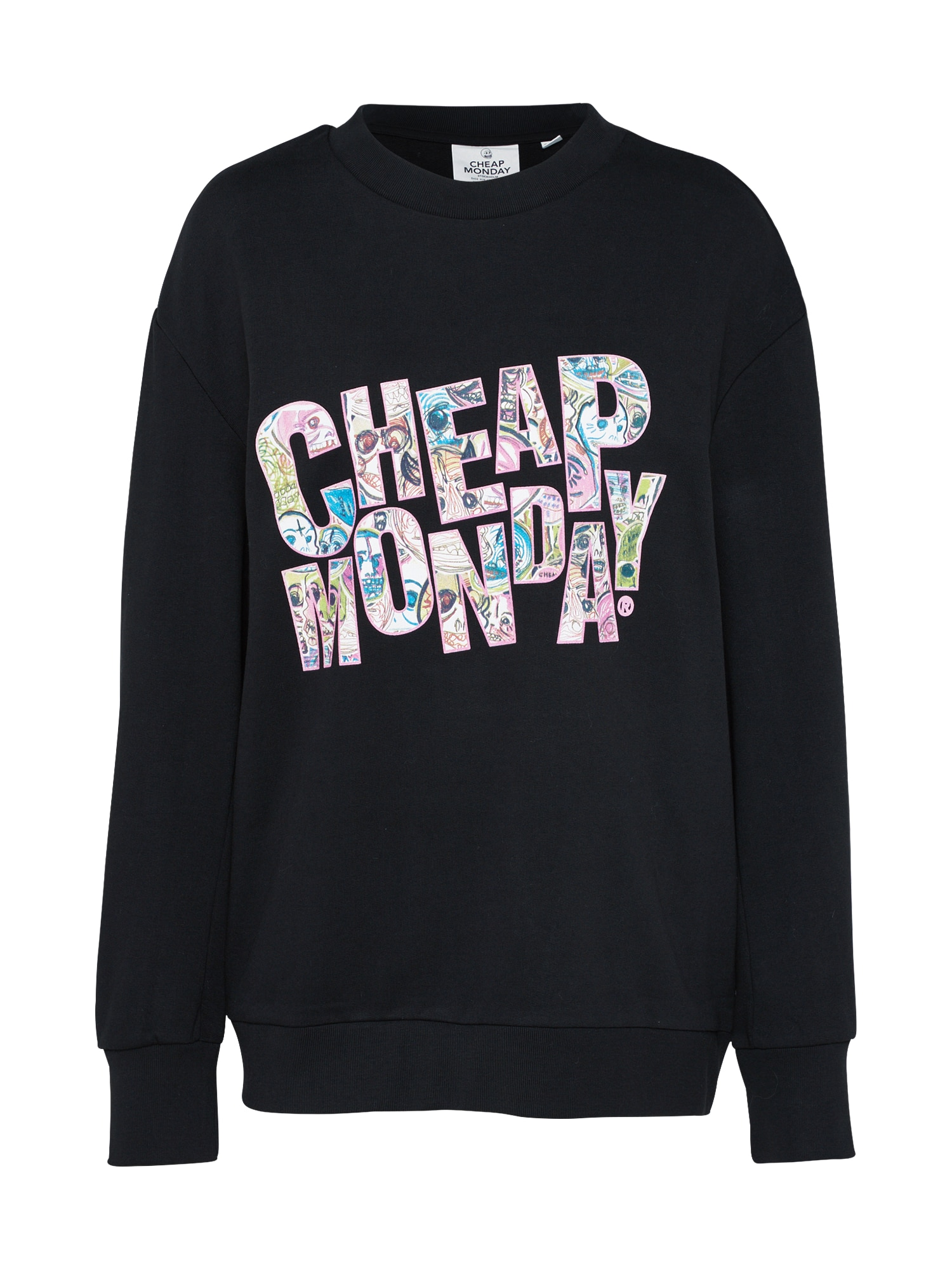 CHEAP MONDAY Dames Sweatshirt Con sweat Logo squad gemengde kleuren zwart