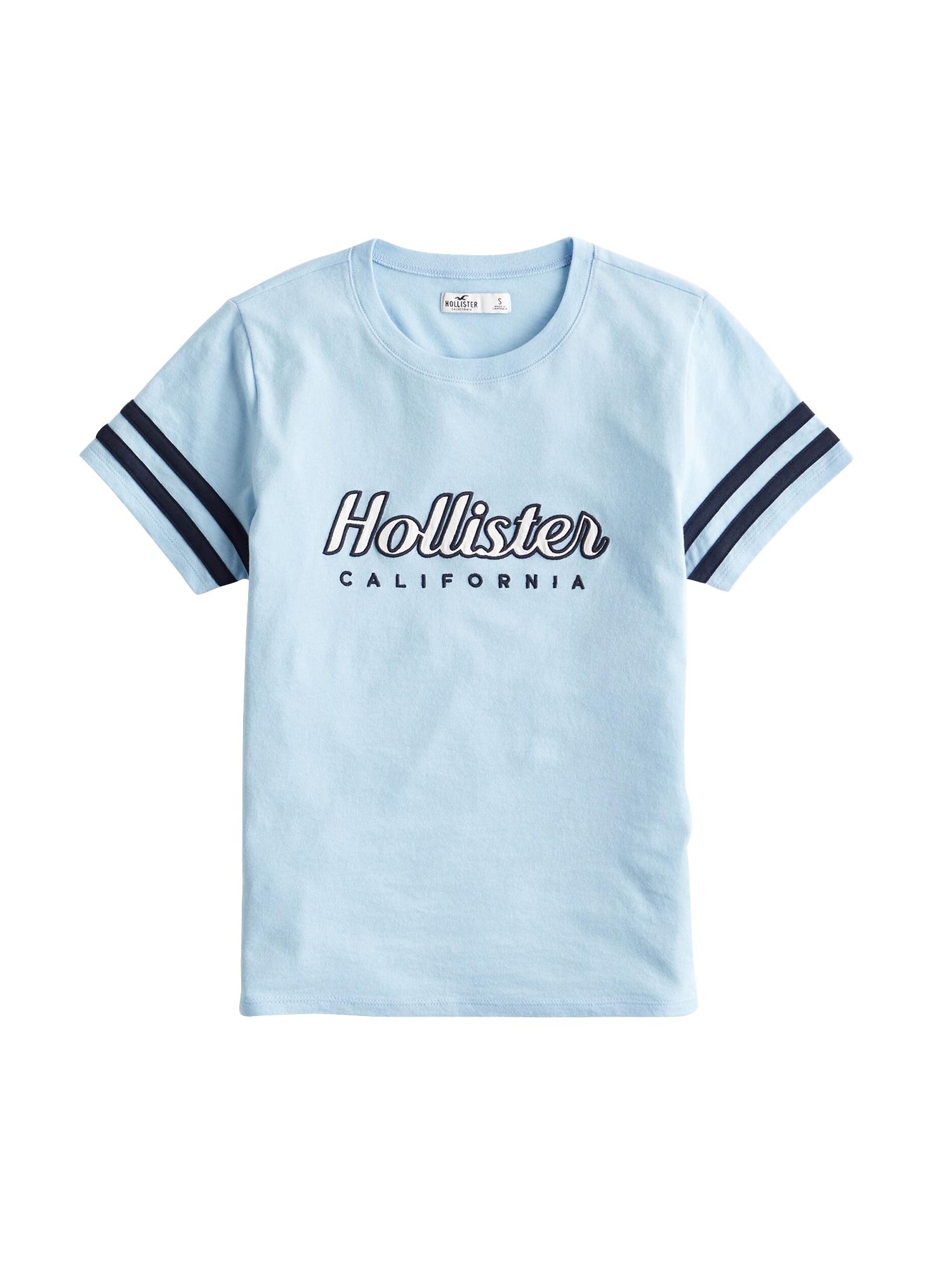 Tričko světlemodrá bílá HOLLISTER