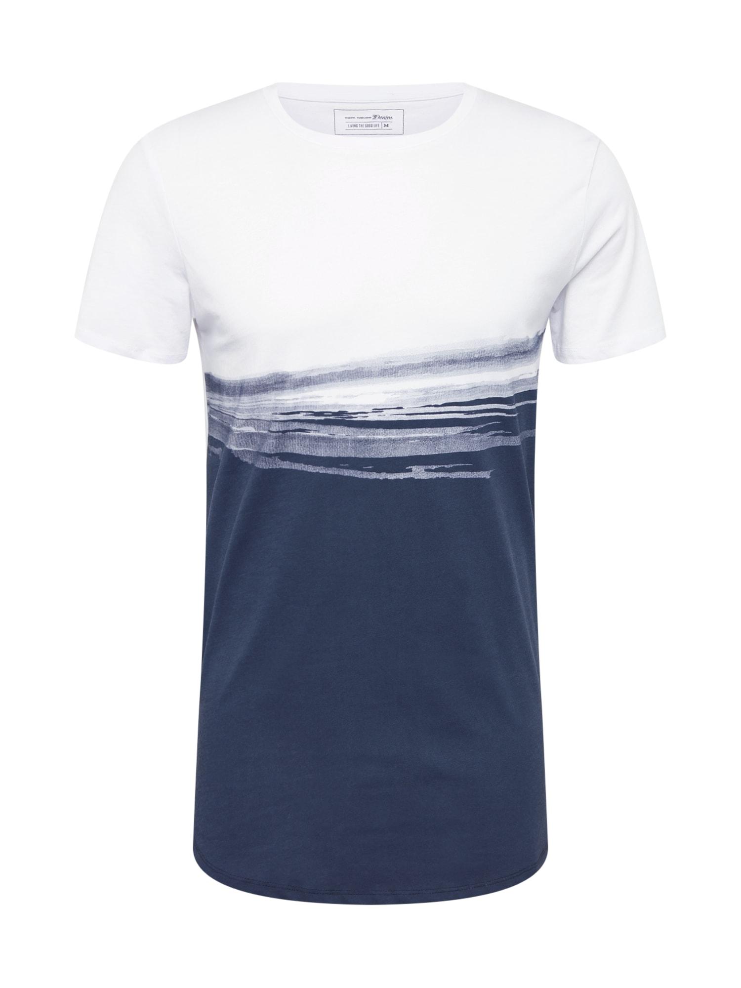 Tričko modrá bílá TOM TAILOR DENIM