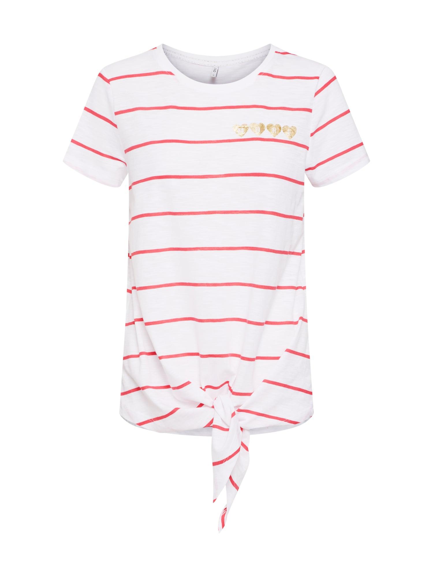 Tričko BINE KNOT pink bílá ONLY