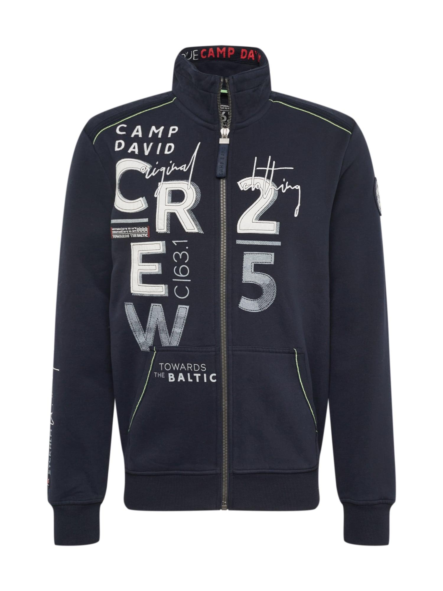 Mikina s kapucí tmavě modrá bílá CAMP DAVID