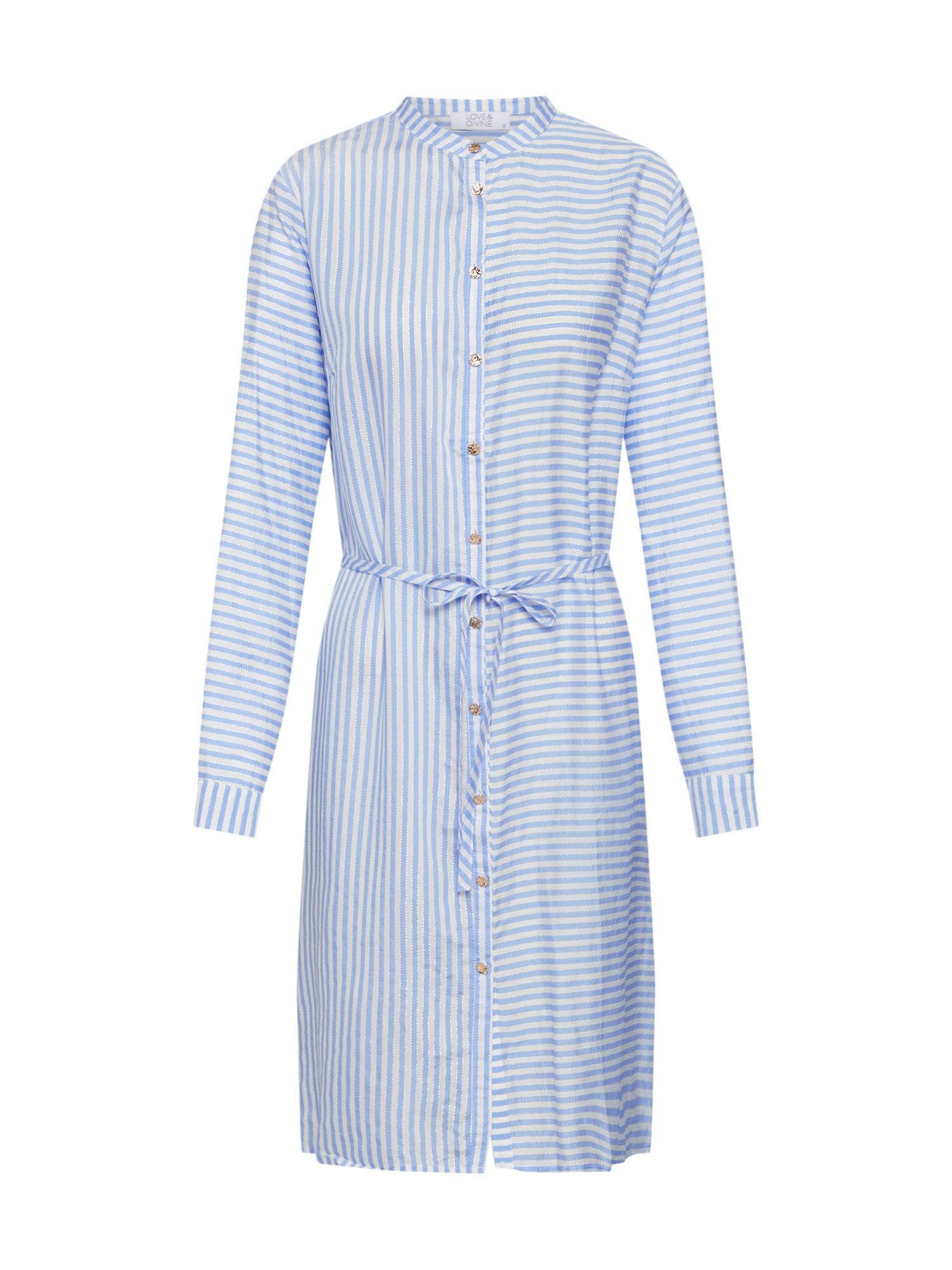 Košilové šaty LOVE344 modrá bílá Love & Divine