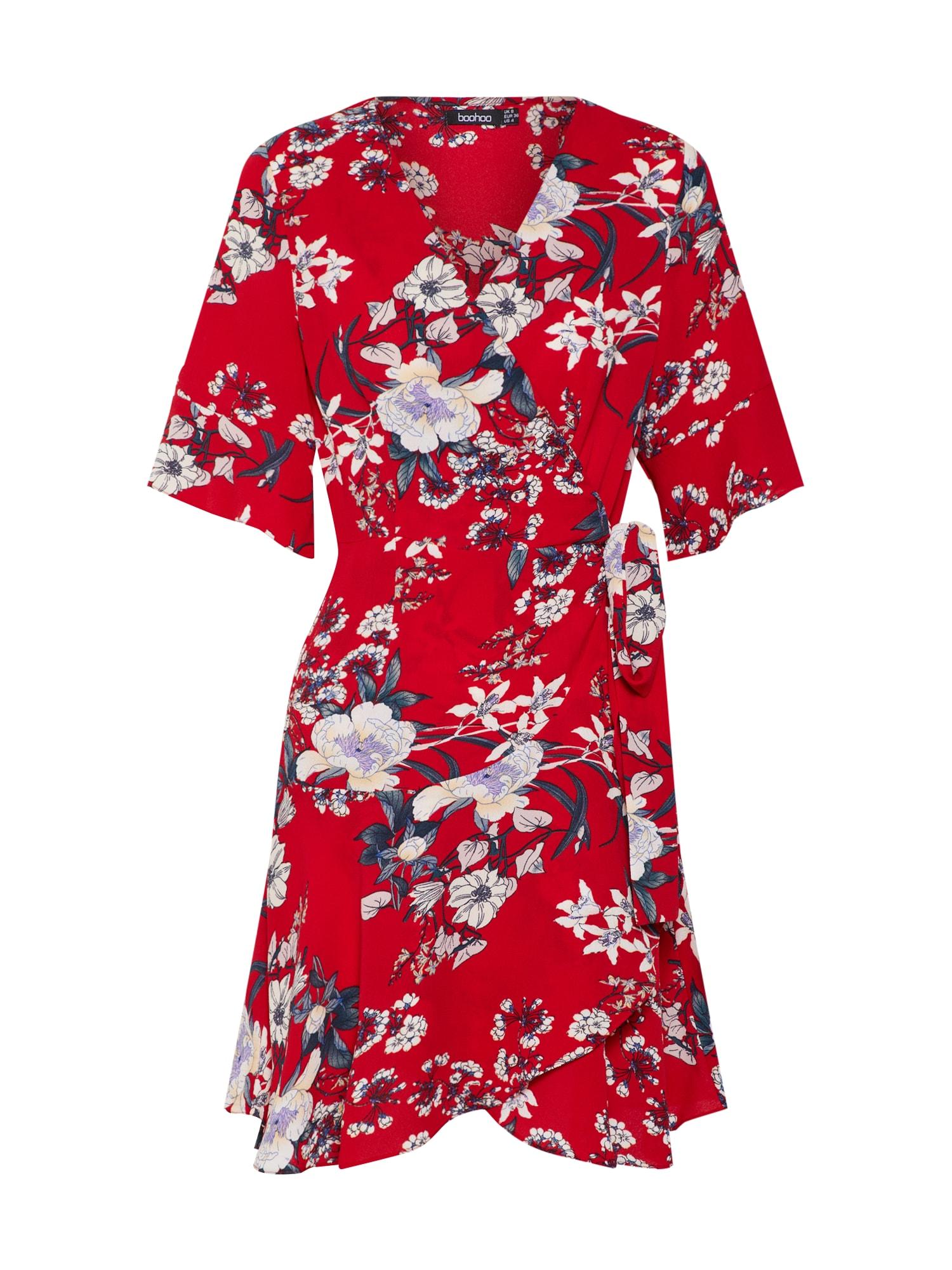 Šaty červená bílá Boohoo