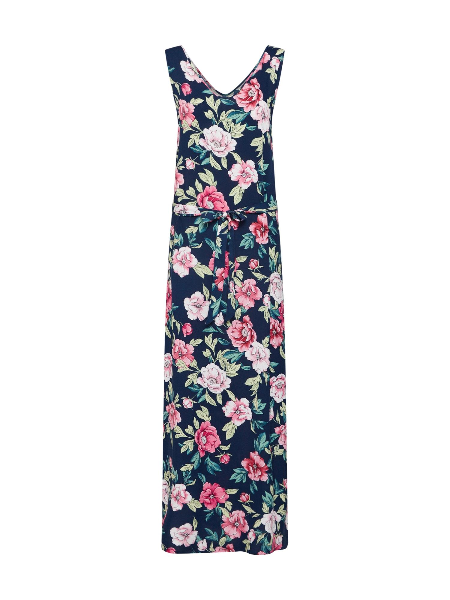 Letní šaty JDYSTAR SL MAXI DRESS WVN FS námořnická modř růžová JACQUELINE De YONG