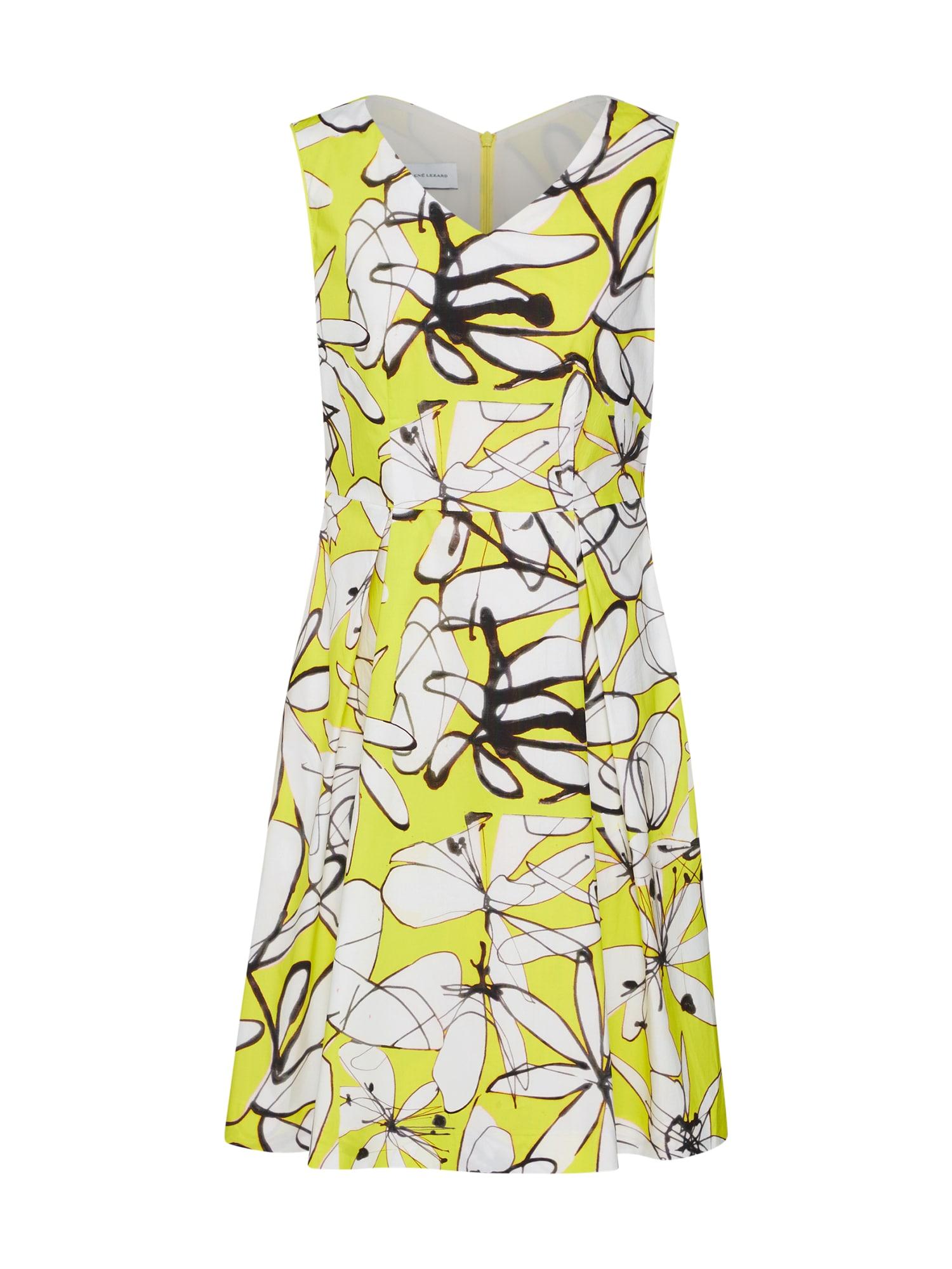 Koktejlové šaty žlutá černá bílá RENÉ LEZARD