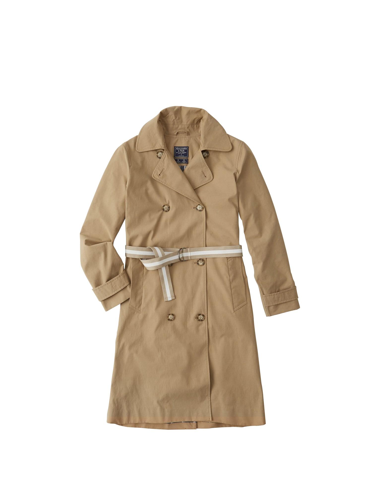 Přechodný kabát HOODED TRENCH béžová Abercrombie & Fitch