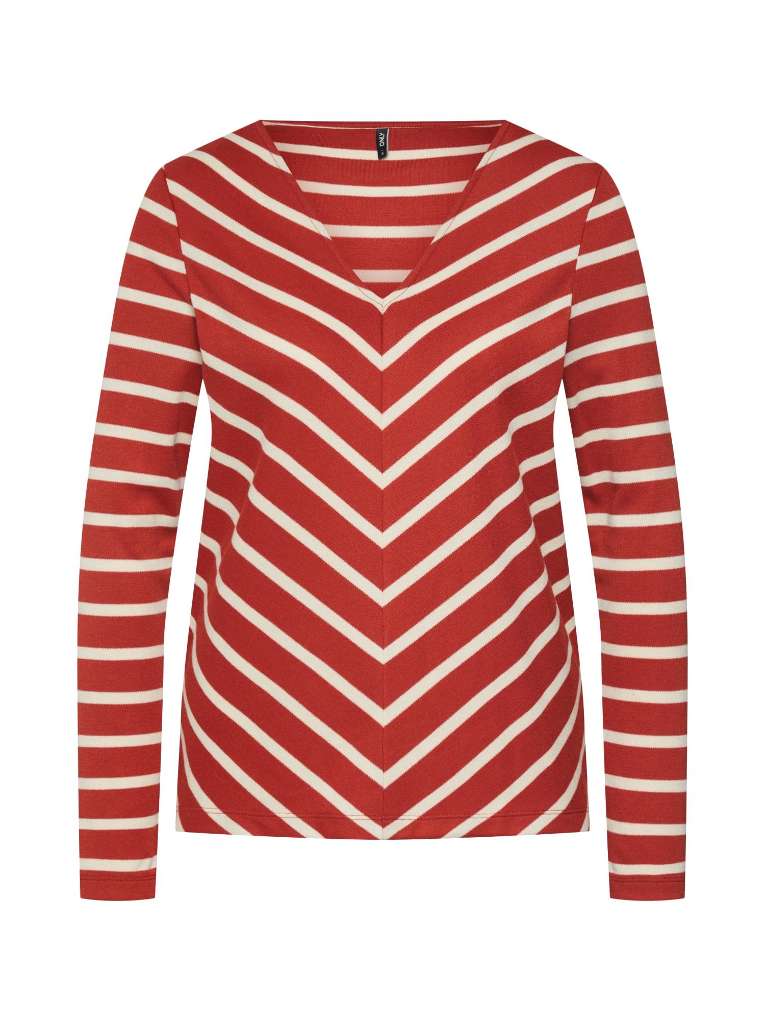 Tričko onlEMMY LS V-NECK TOP JRS krémová červená ONLY