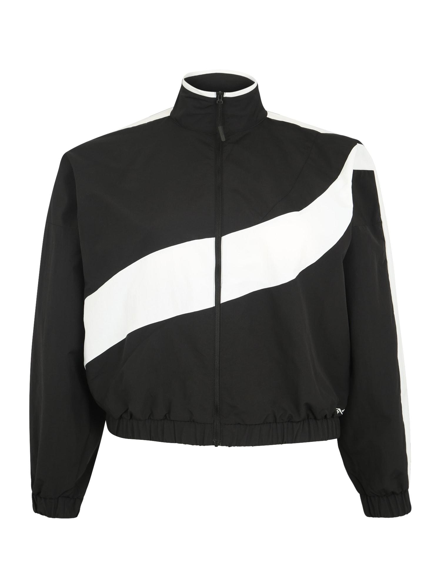 REEBOK Športová bunda  čierna / biela