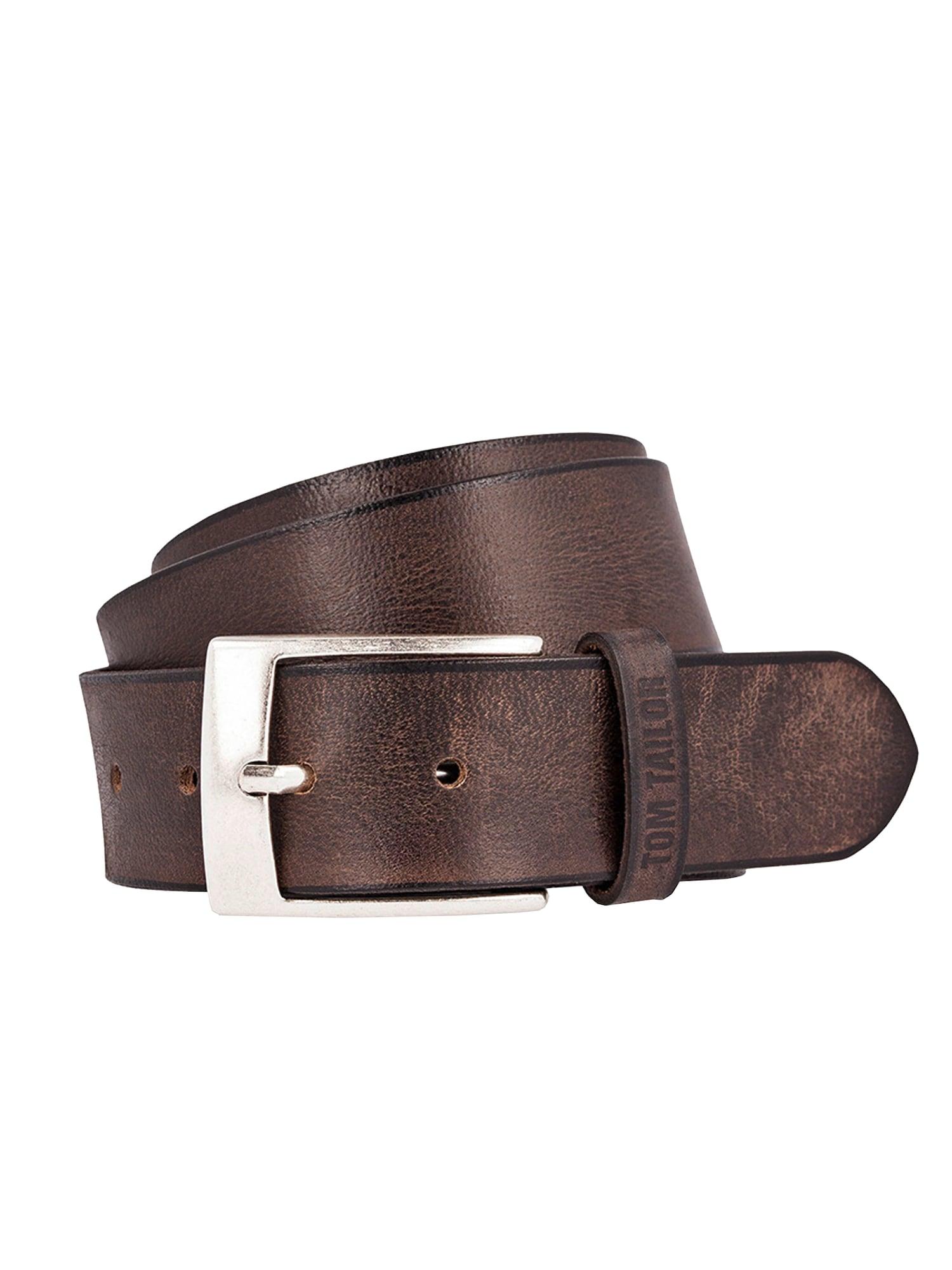 Opasek Used fullgrain leather belt tmavě hnědá TOM TAILOR