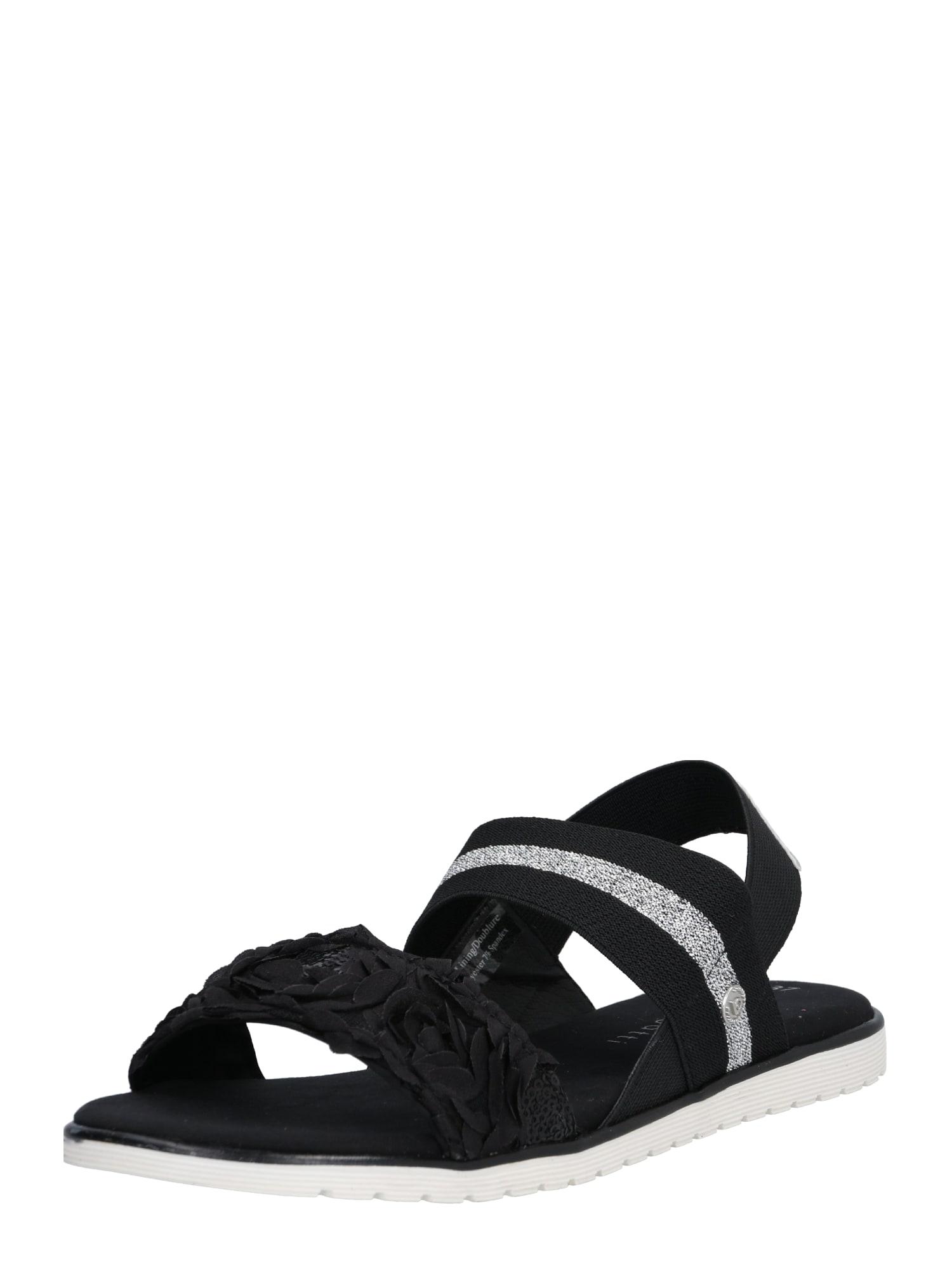 Sandály Joleen černá stříbrná Bugatti