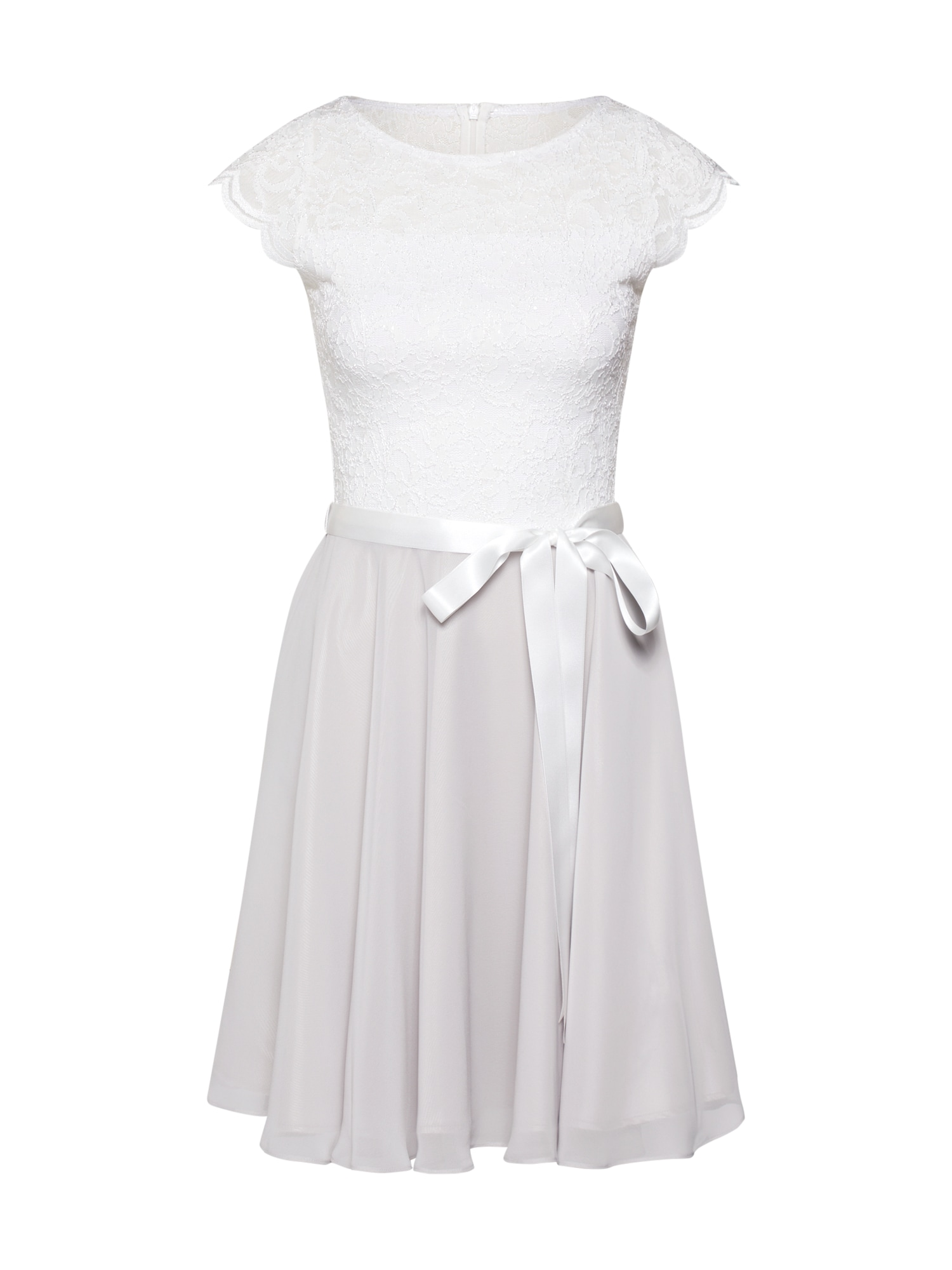Koktejlové šaty krémová stříbrně šedá SWING