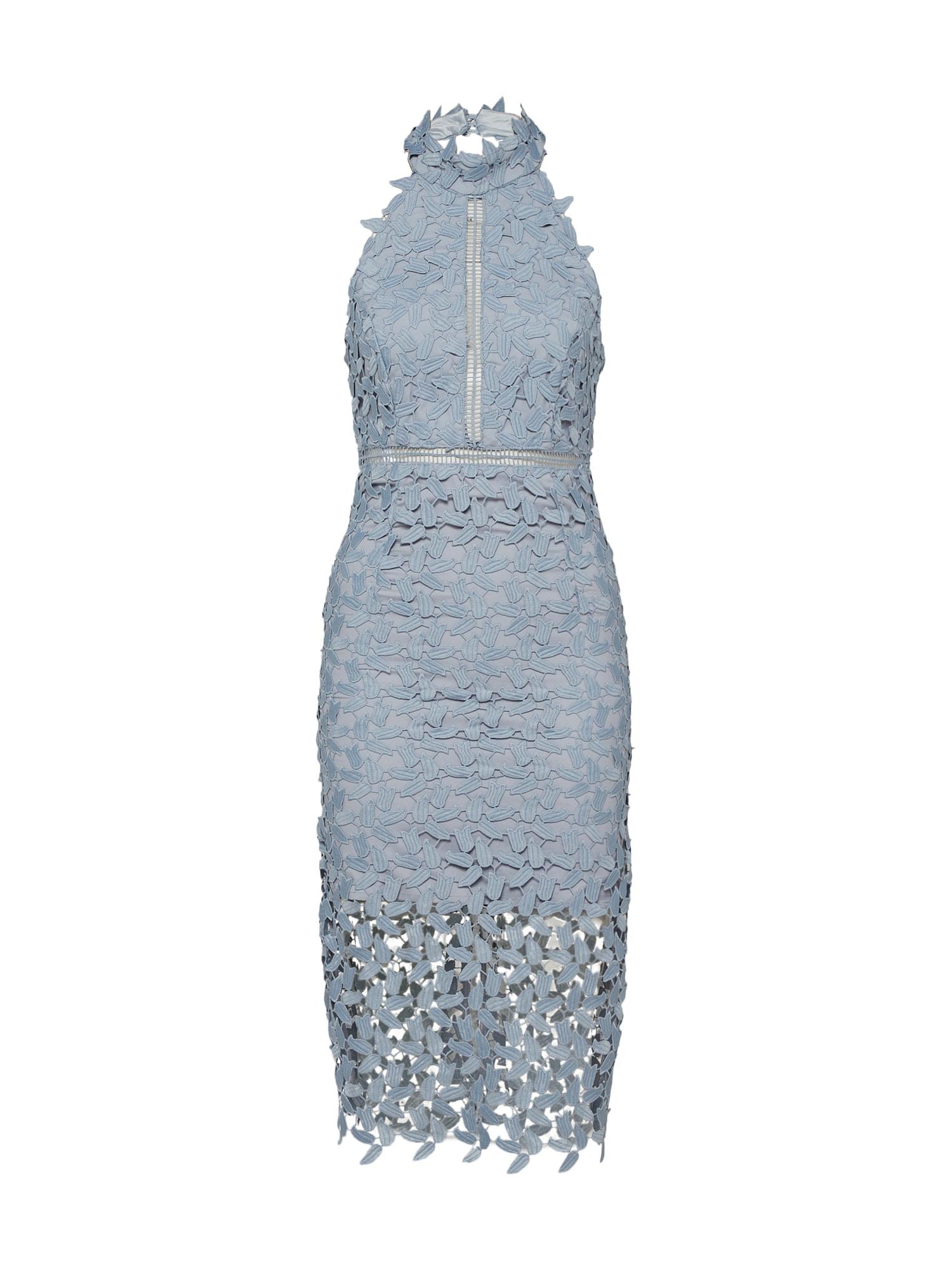 Koktejlové šaty Gemma kouřově modrá Bardot