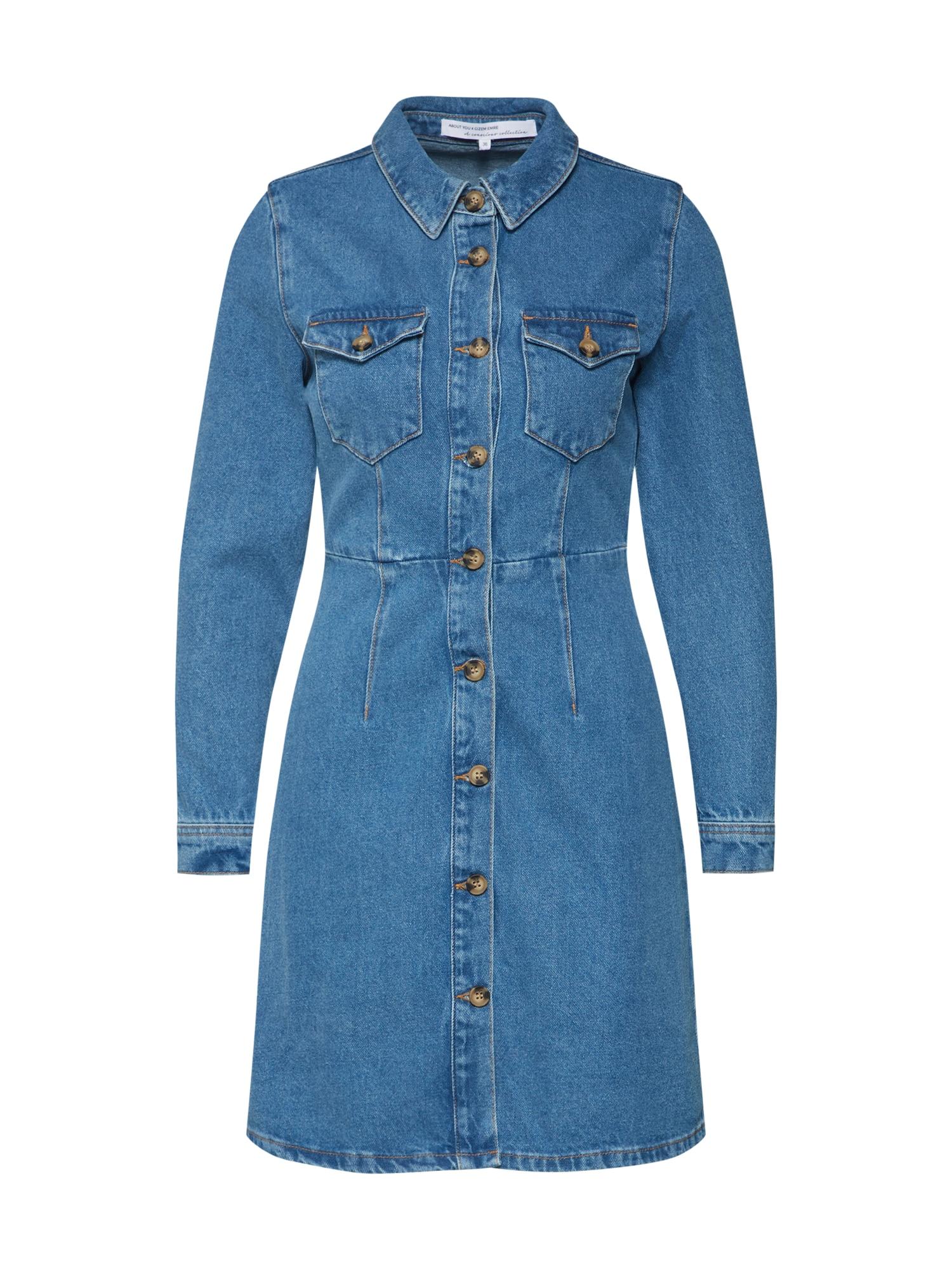 Košilové šaty Ayana modrá džínovina ABOUT YOU X Gizem Emre