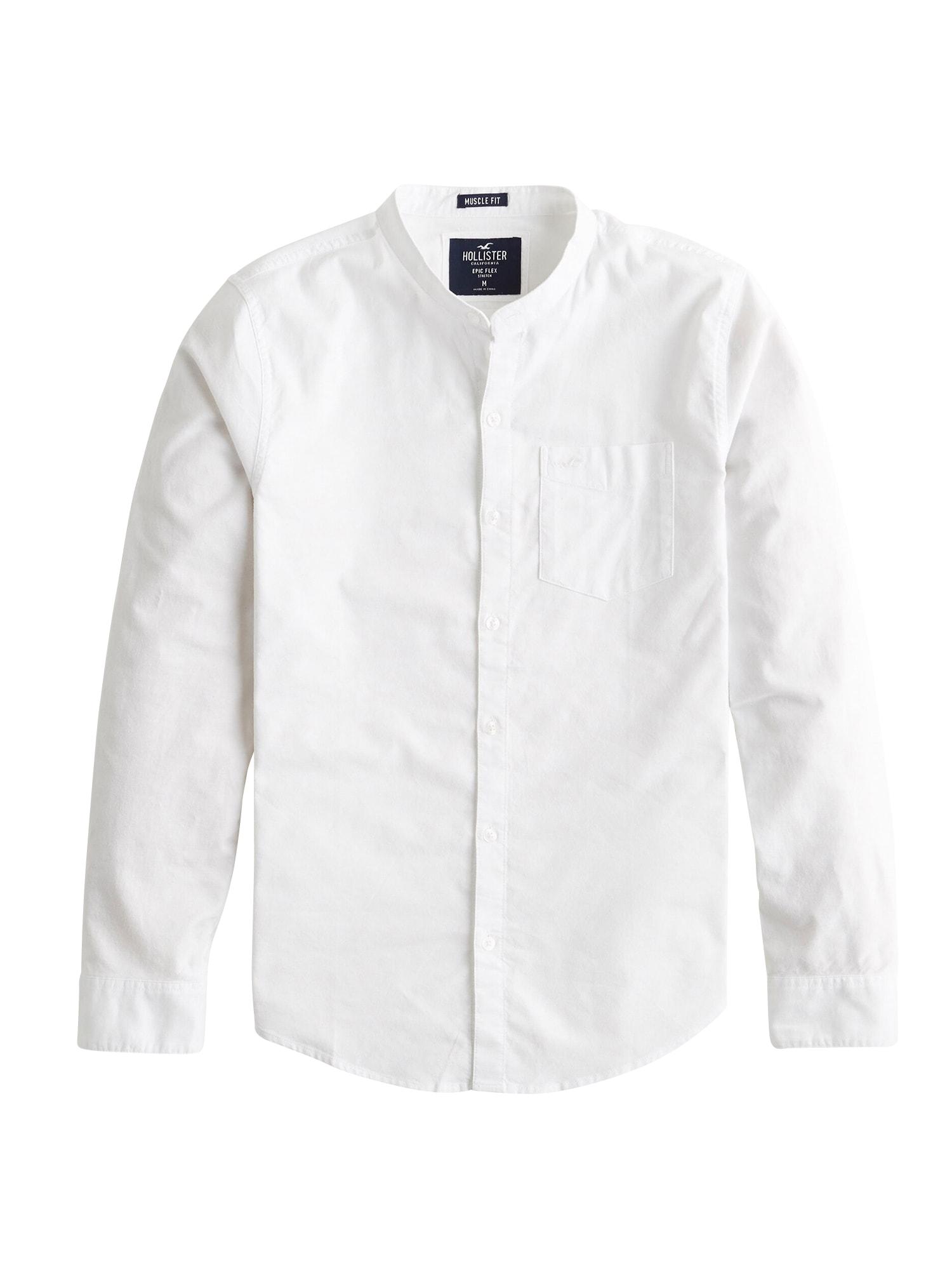 Společenská košile BTS19-LS MFIT BAND OX SLUB RO A2 3CC bílá HOLLISTER