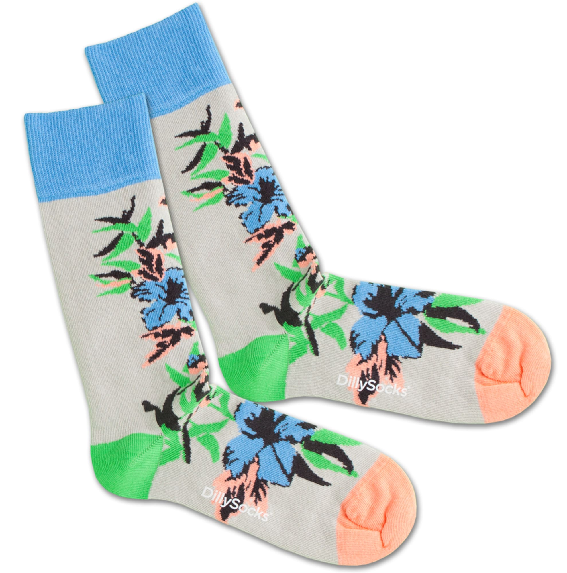 Ponožky Old Flower modrá šedá DillySocks