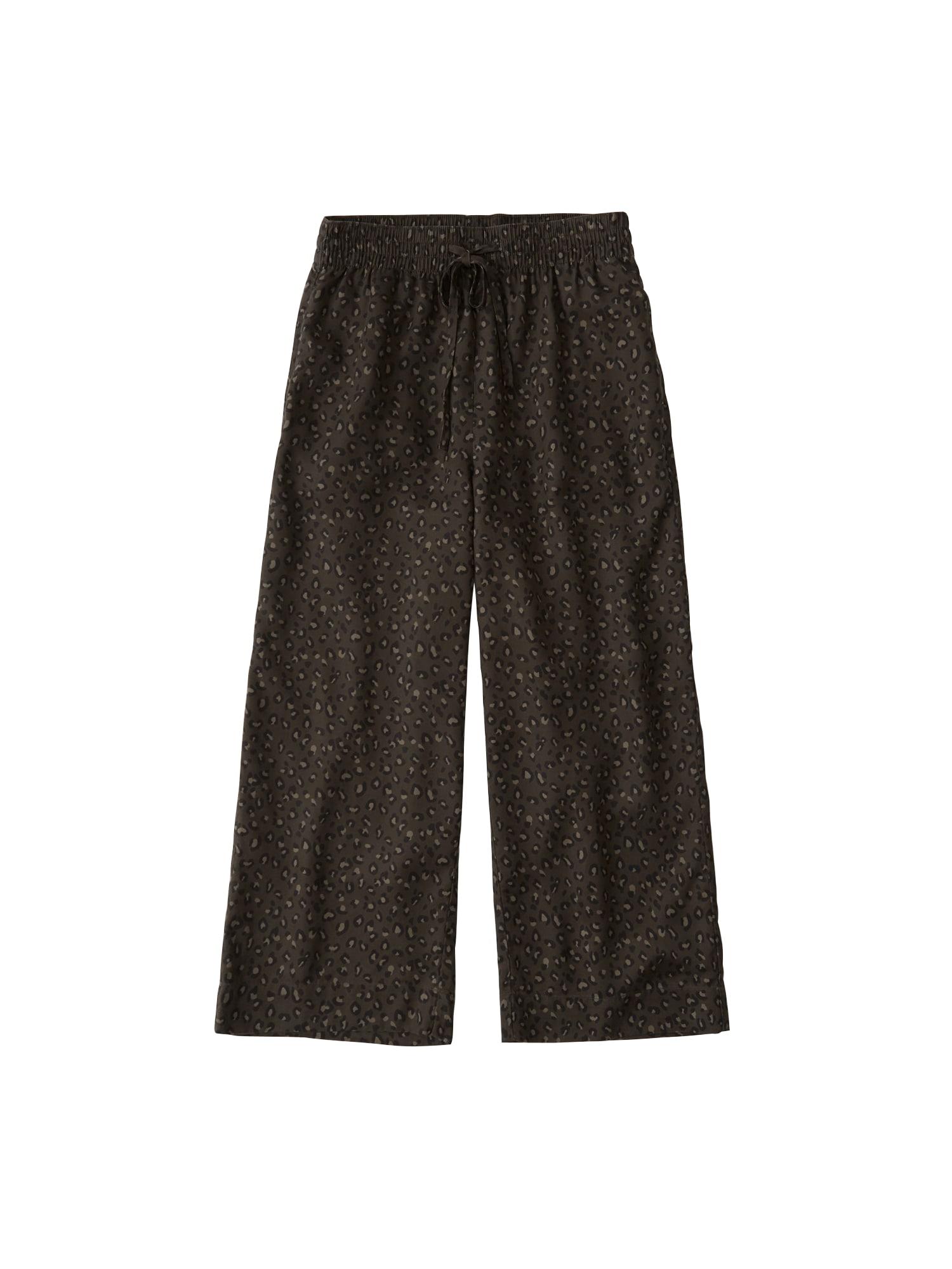 Kalhoty SB19-NR CROP WIDE LEG béžová Abercrombie & Fitch