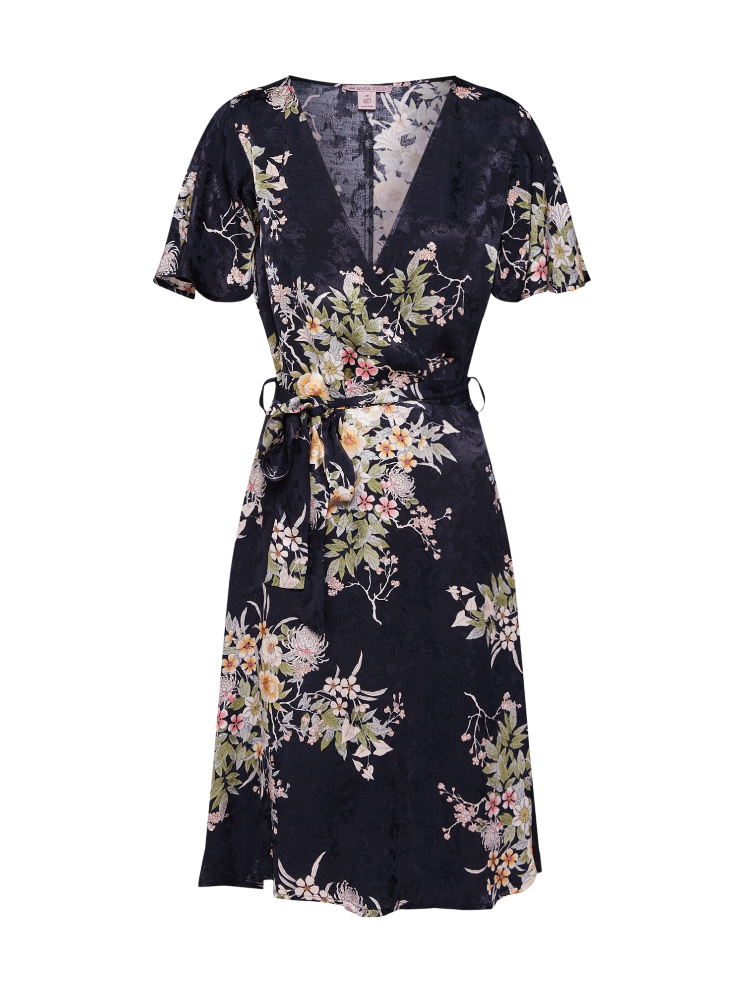 Anna Field Jurk 'floral wrap dress' donkerblauw / wit