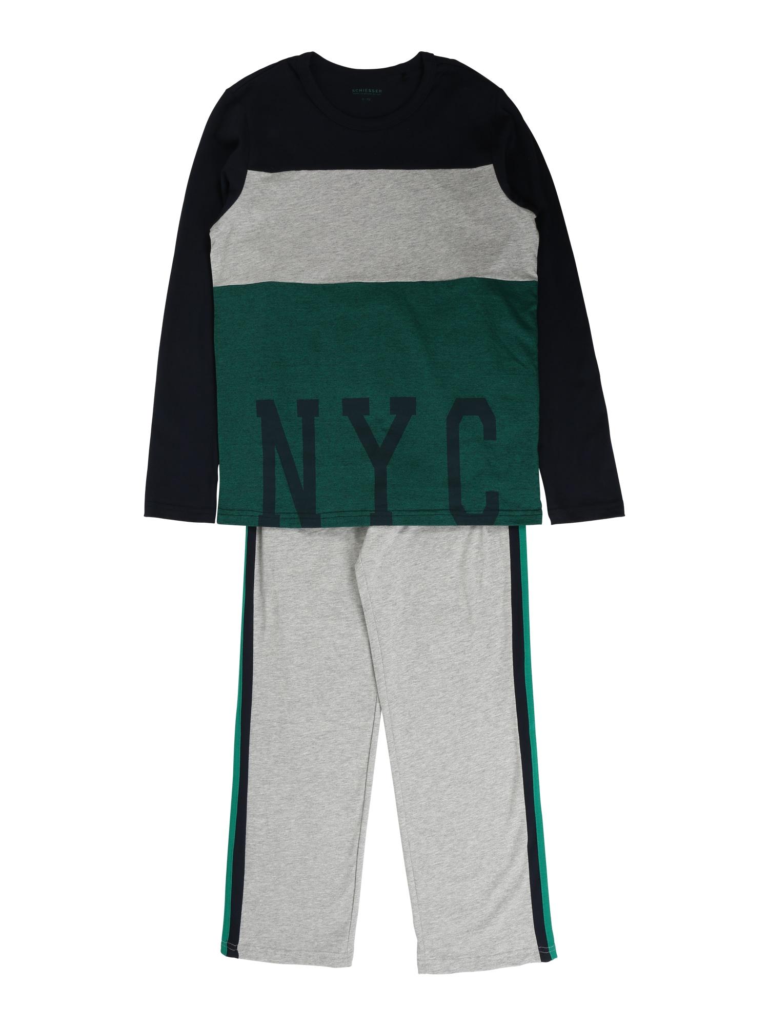 Pyžamo šedý melír zelená SCHIESSER