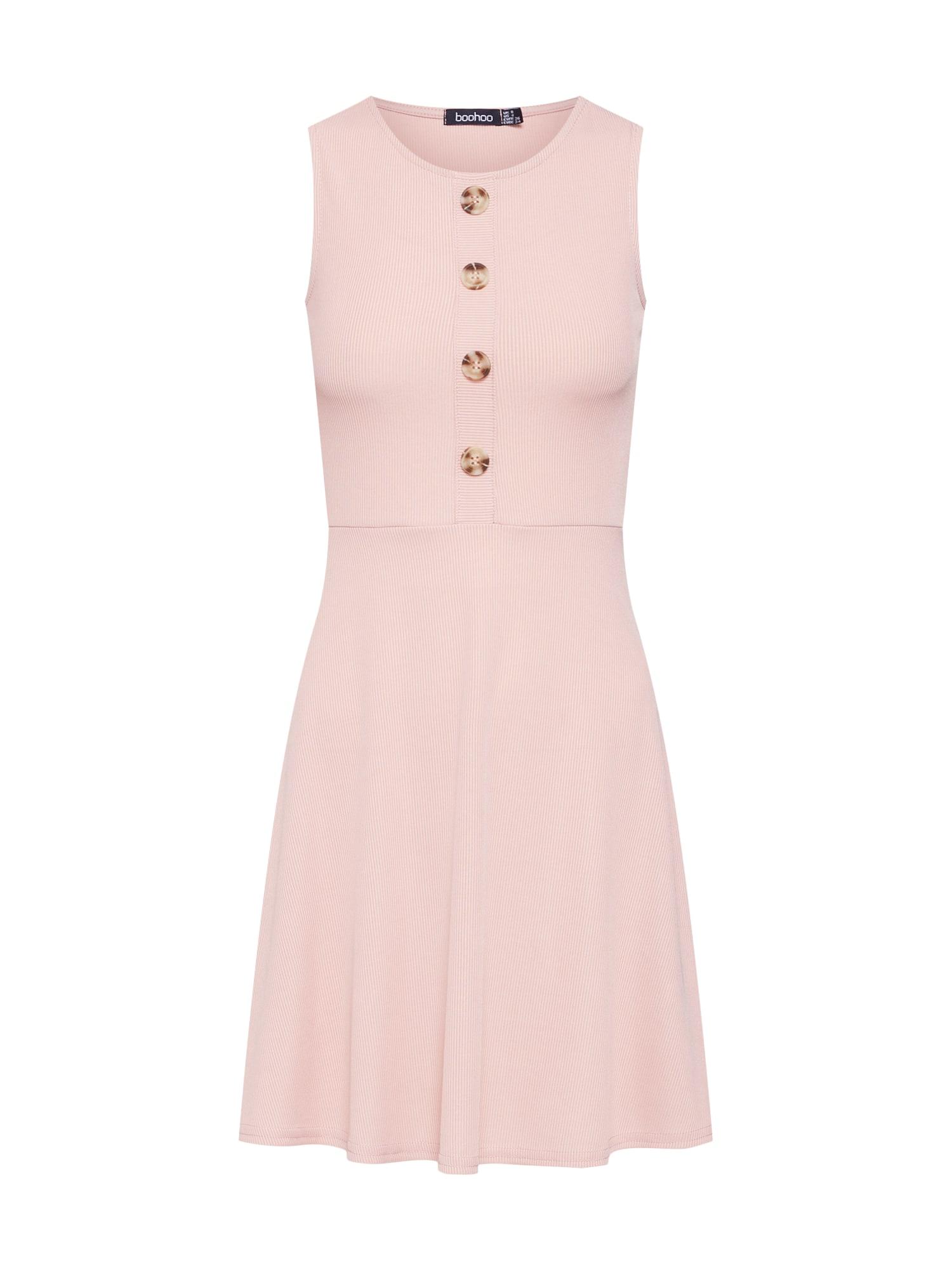 Letní šaty Ribbed Skater růžová Boohoo