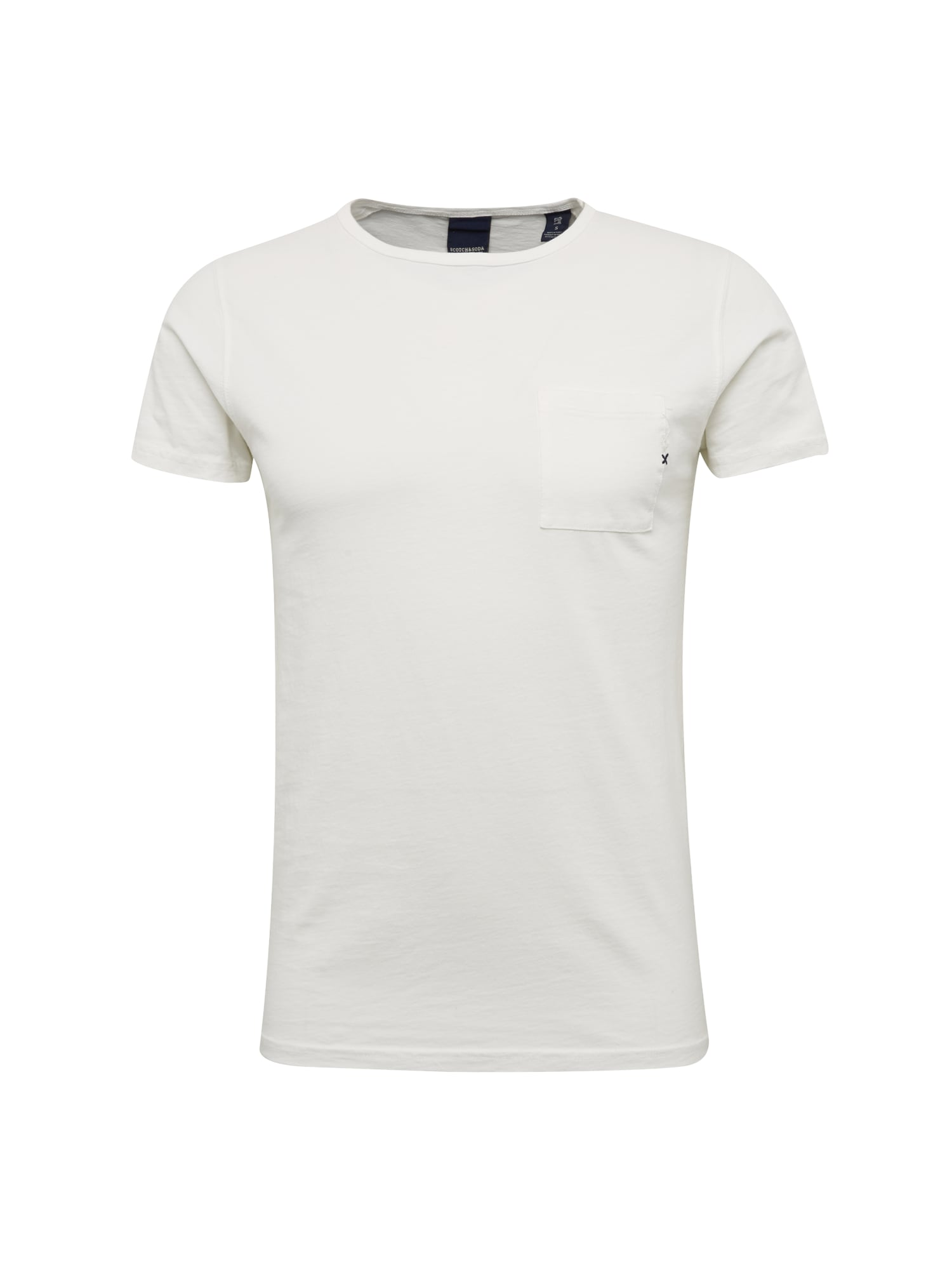 SCOTCH  and  SODA Heren Shirt Ams Blauw 1 pocket tee in seasonal colours wit