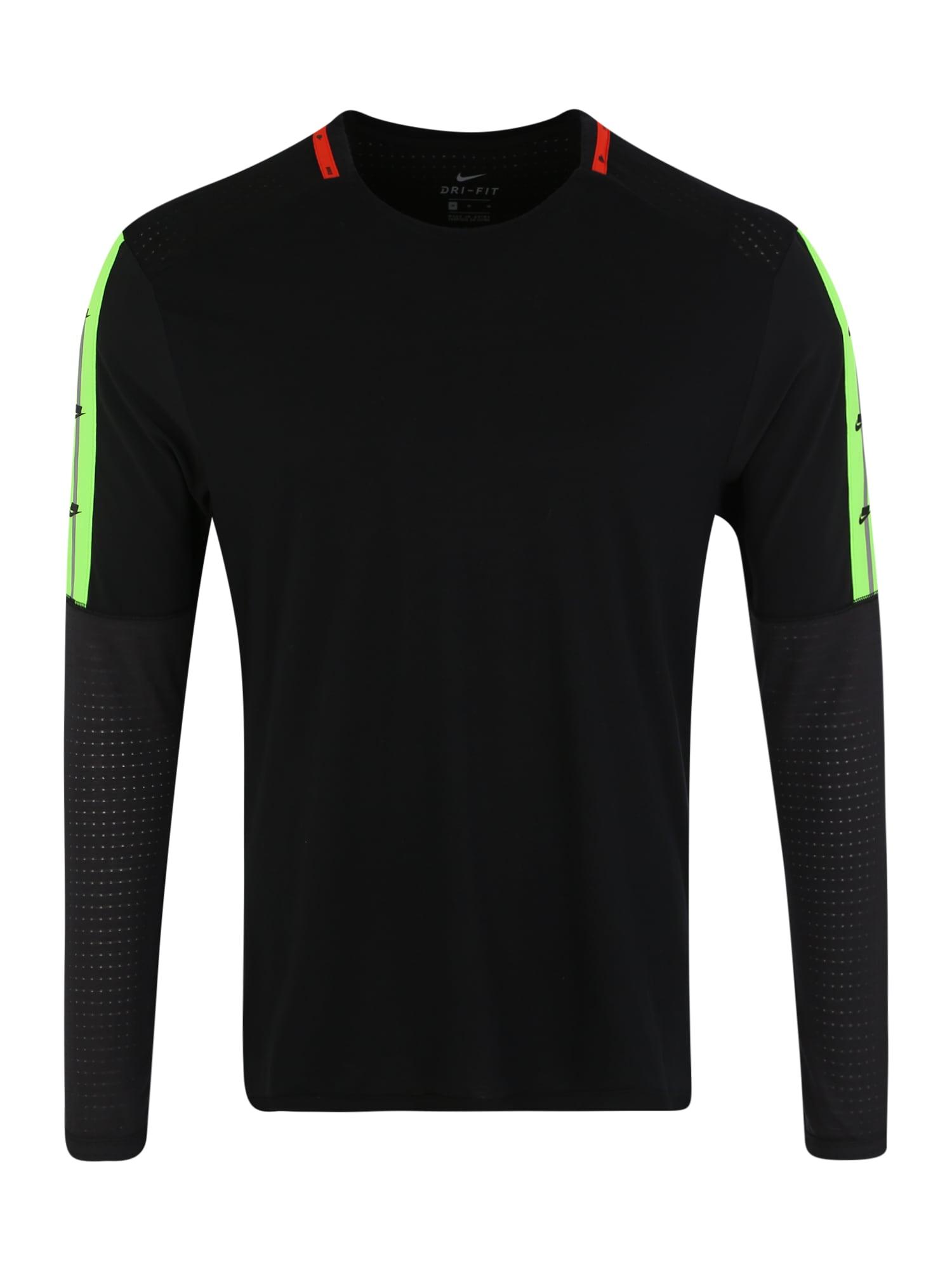 NIKE Funkčné tričko  limetová / červené / čierna