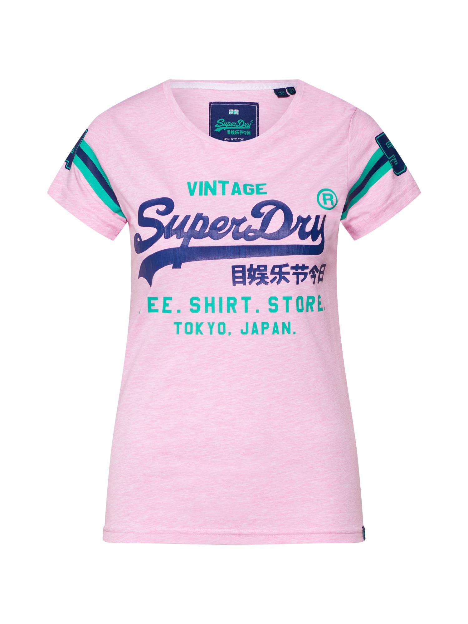 Tričko Shop Varsity modrá zelená růžová Superdry