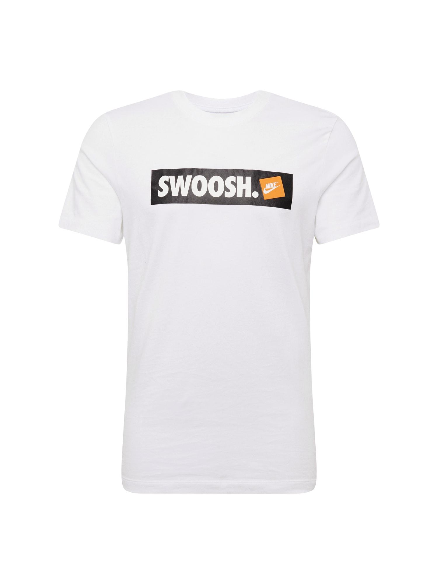 Tričko M NSW TEE SWOOSH BMPR STKR černá bílá Nike Sportswear