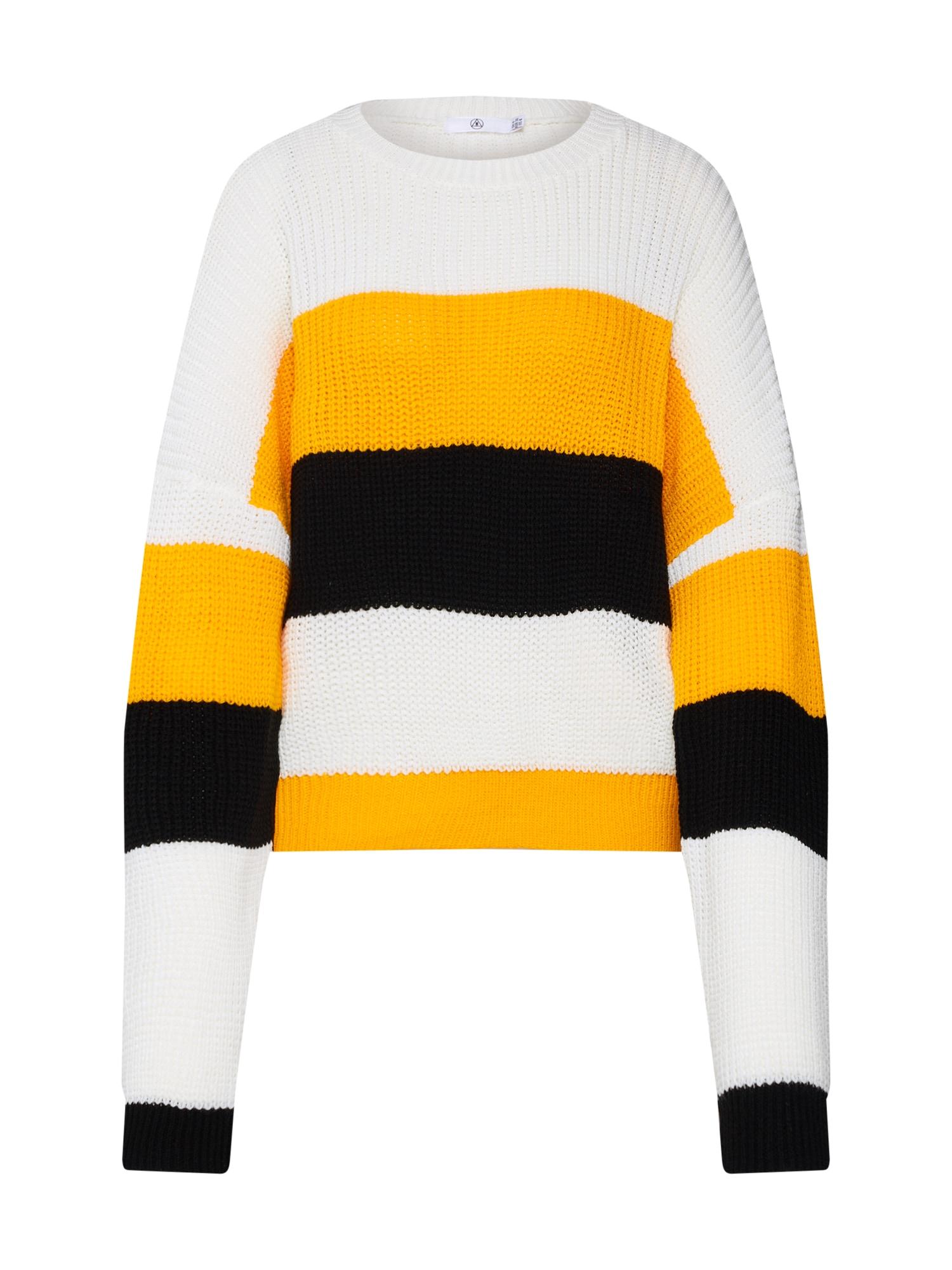 Maxi svetr COLOURBLOCK STRIPED OVERSIZED JUMPER žlutá černá bílá Missguided