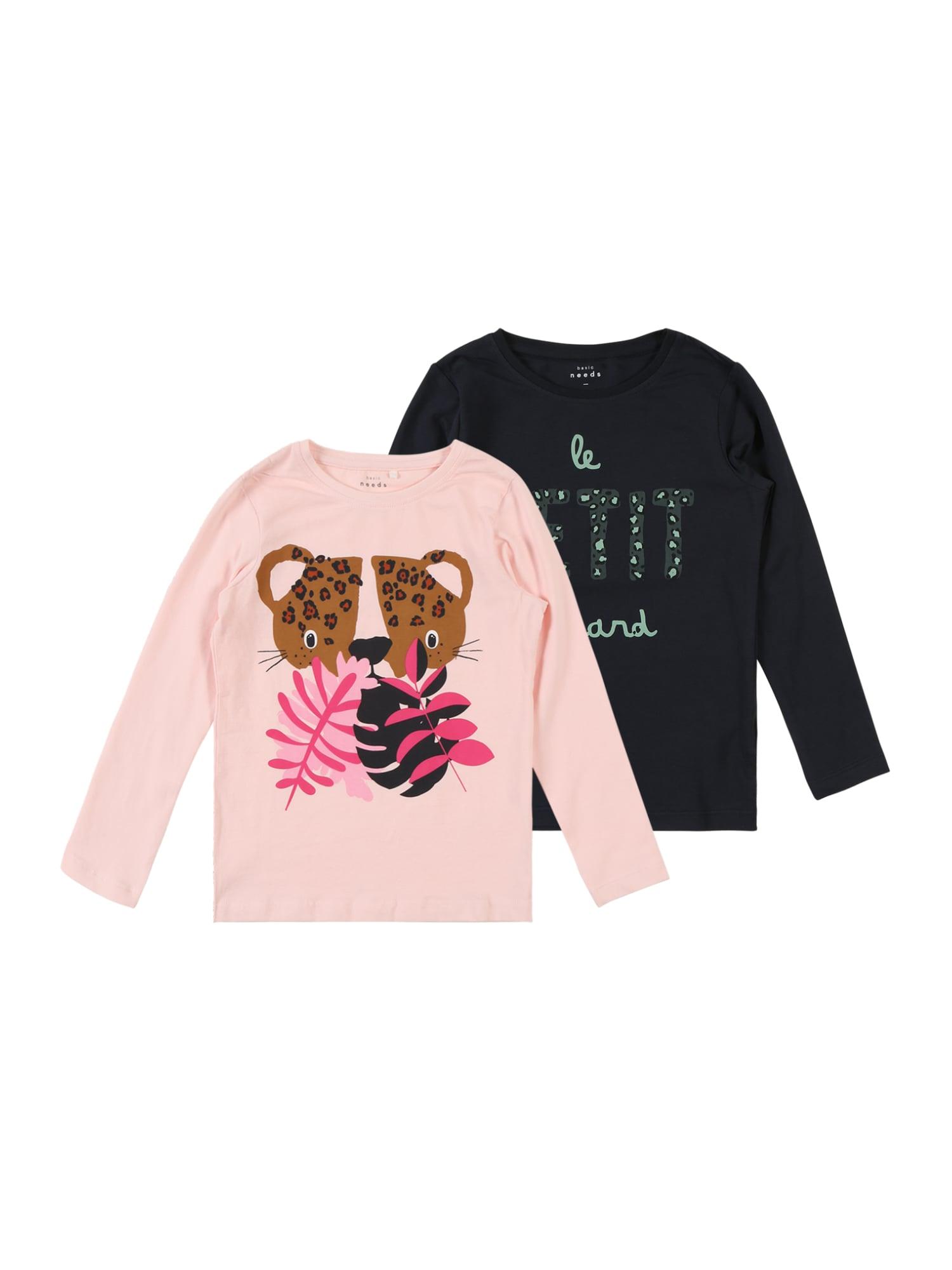 Tričko NMFVIX 2P LS TOP N pink černá NAME IT
