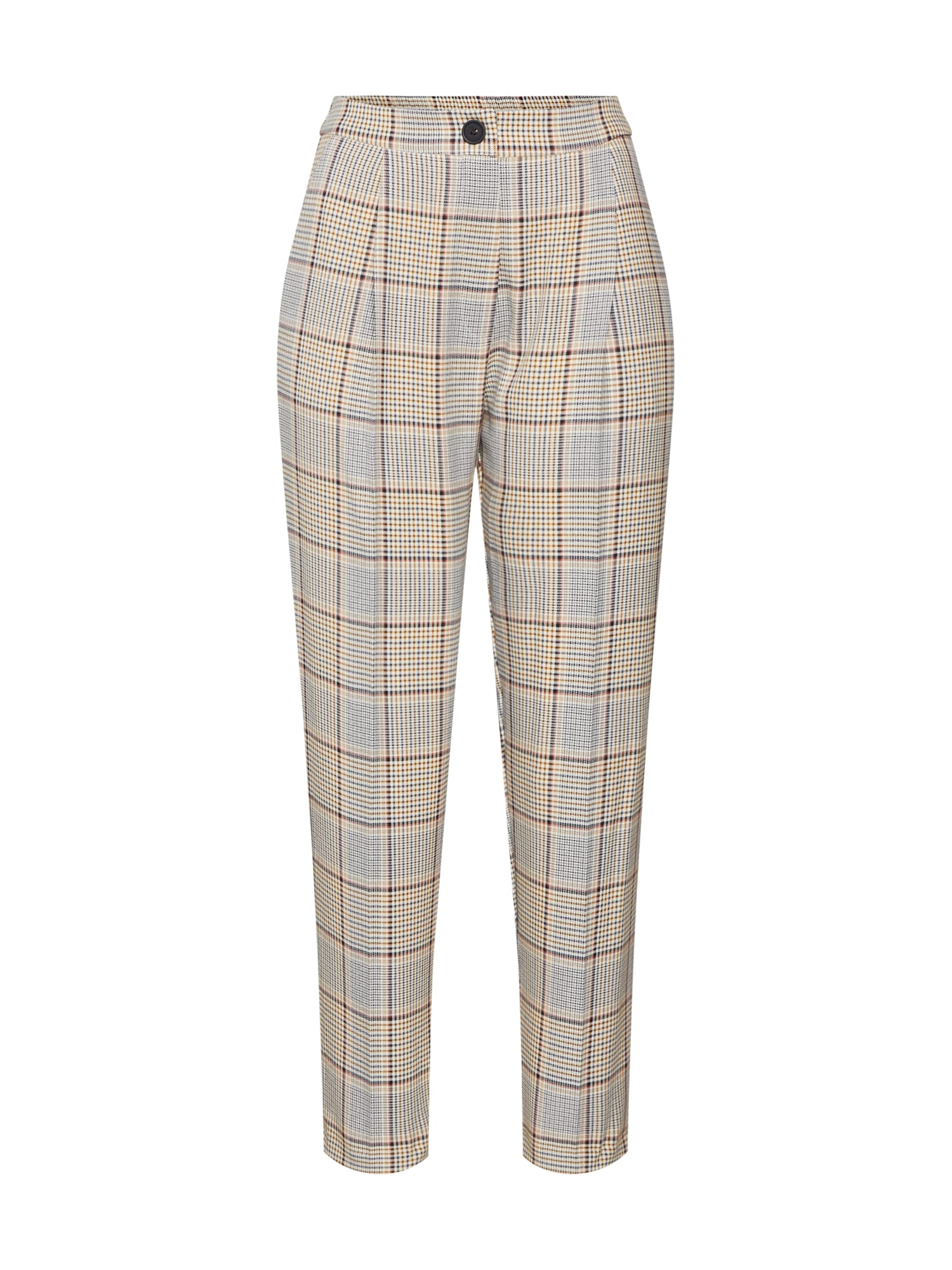 Kalhoty se sklady v pase Spring Check Vicky hnědá koňaková šedá NEW LOOK
