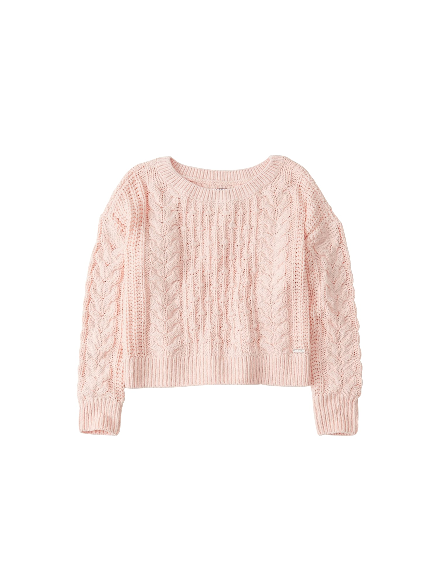 Svetr SB19-BOBBLE CABLE CREW pink Abercrombie & Fitch