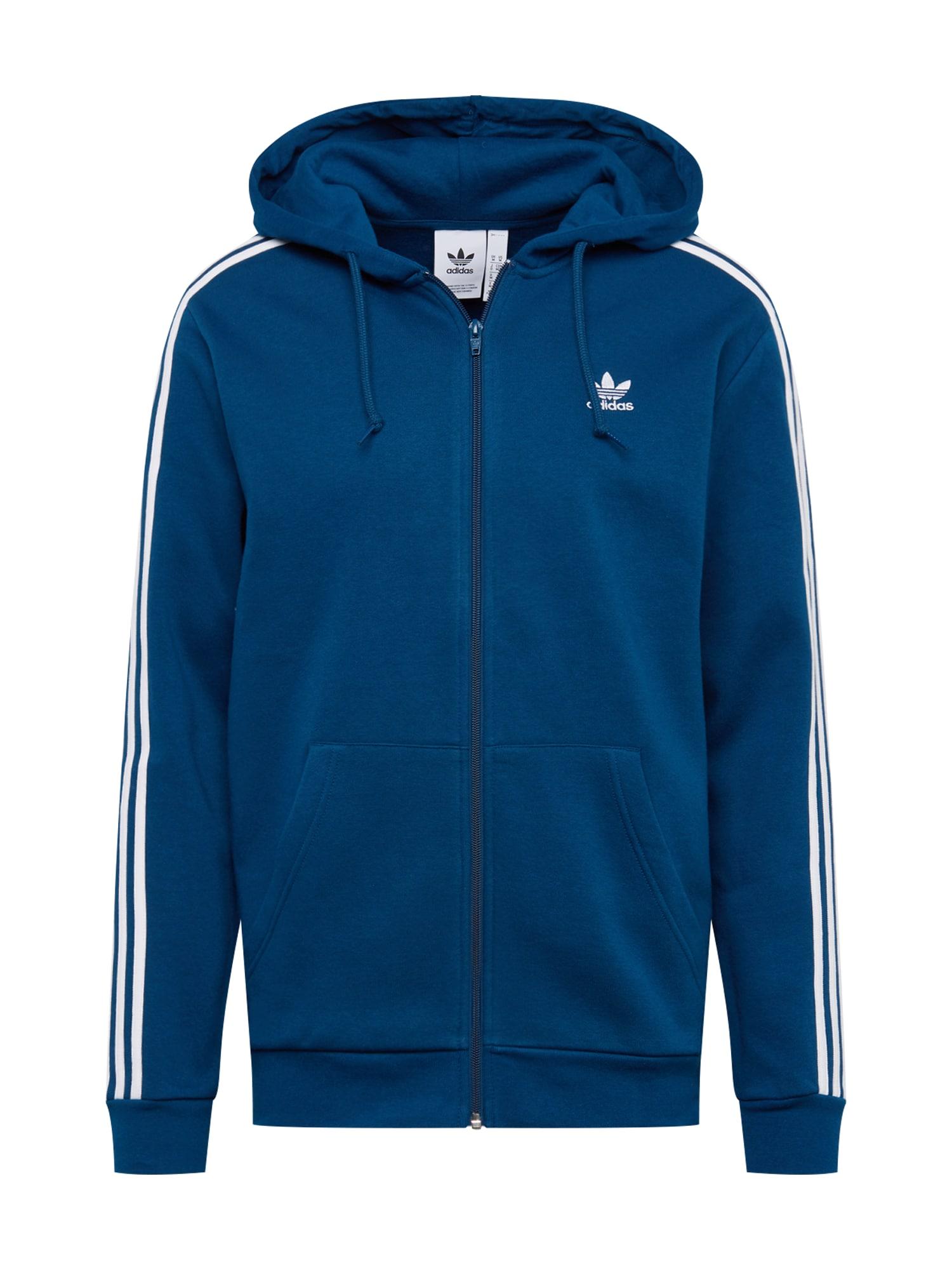 Mikina s kapucí 3-STRIPES FZ marine modrá bílá ADIDAS ORIGINALS