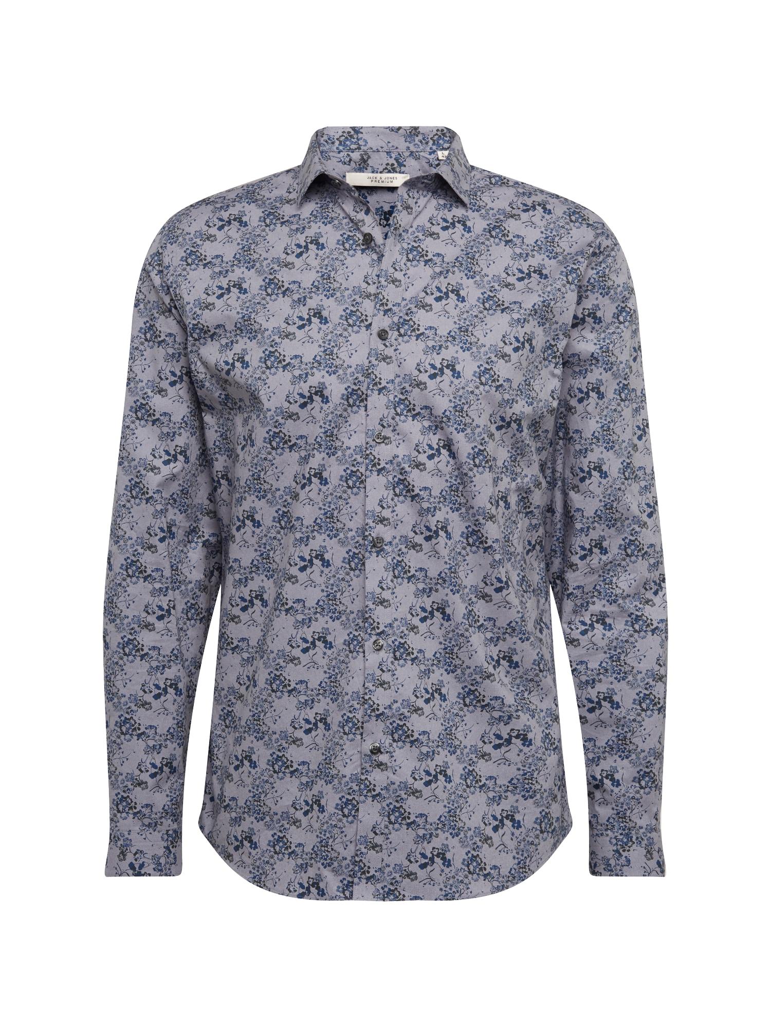 Košile Blackburn  kouřově modrá  tmavě modrá JACK & JONES