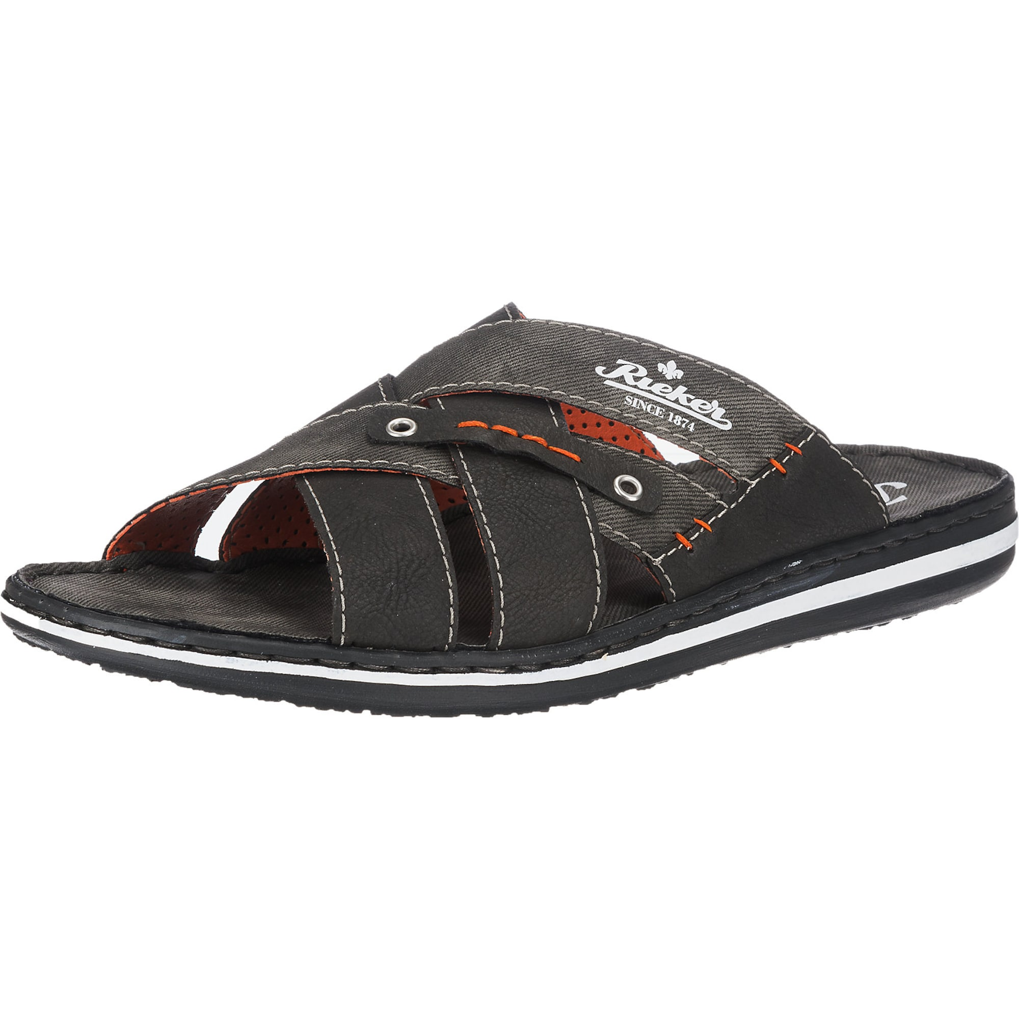 Pantoletten | Schuhe > Clogs & Pantoletten > Pantoletten | Graphit - Orange - Weiß | RIEKER