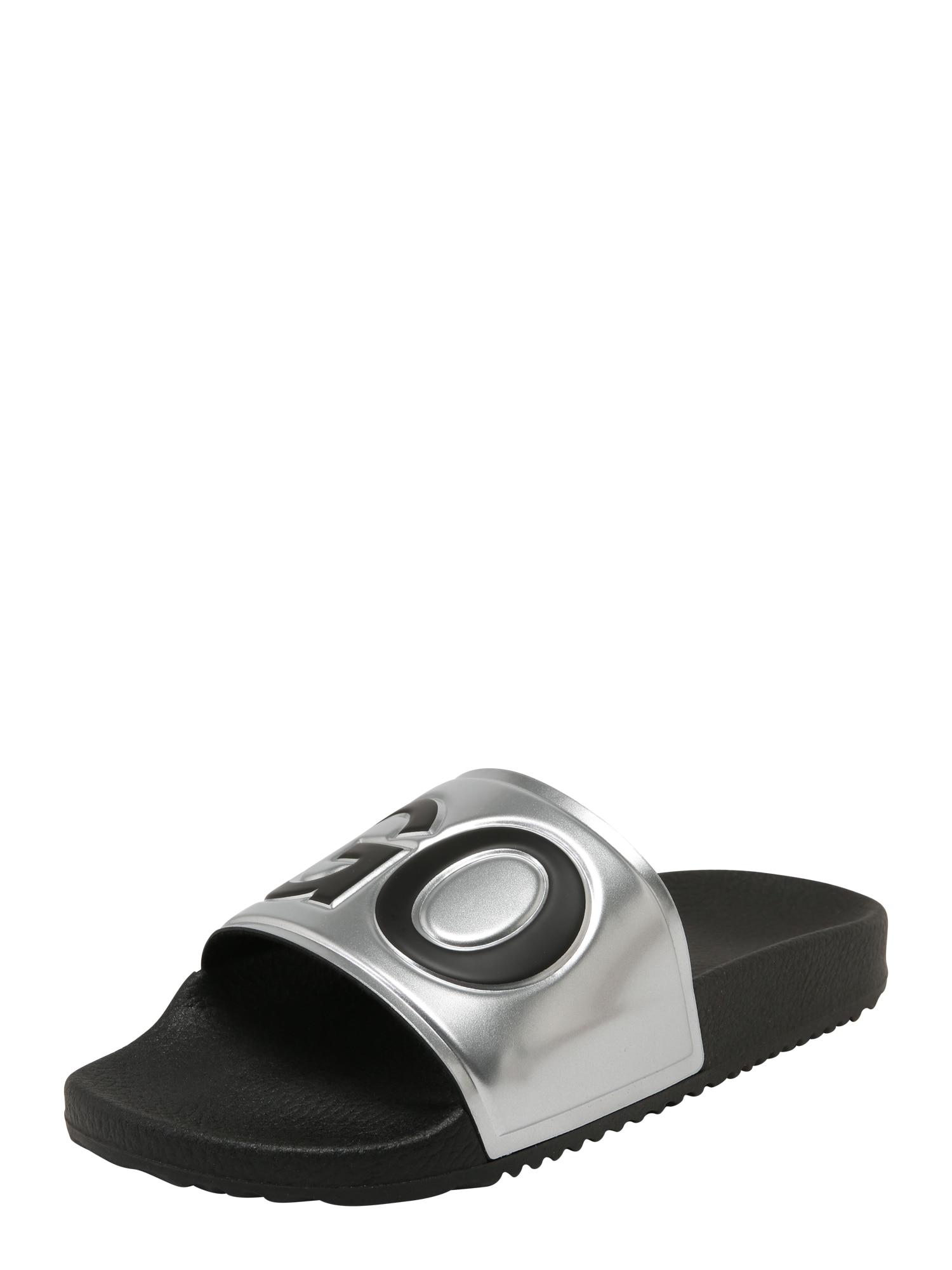 Pantofle TIME OUT stříbrně šedá černá HUGO