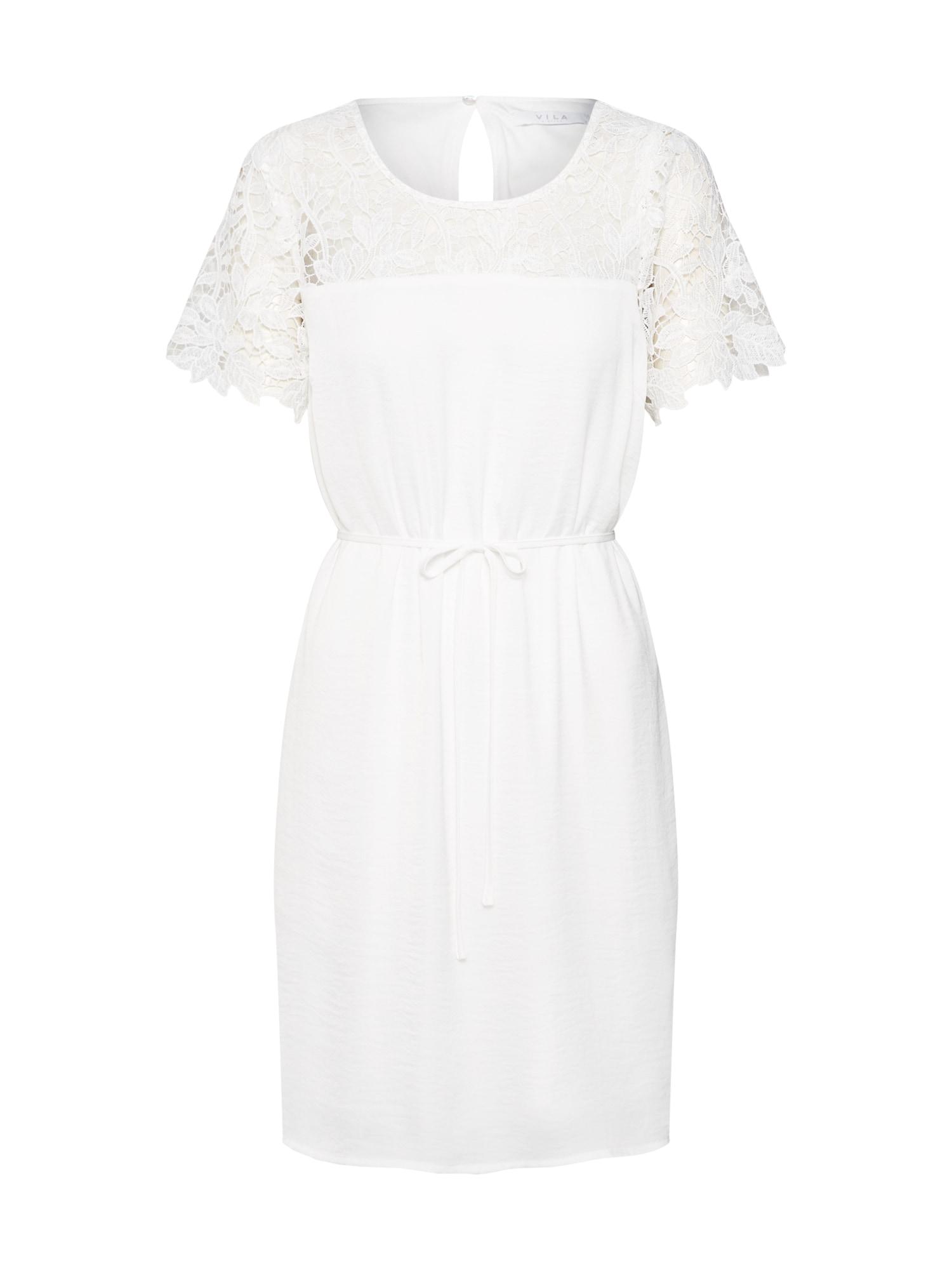 Koktejlové šaty VIMELLI BLOCKED LACE DRESS krémová VILA