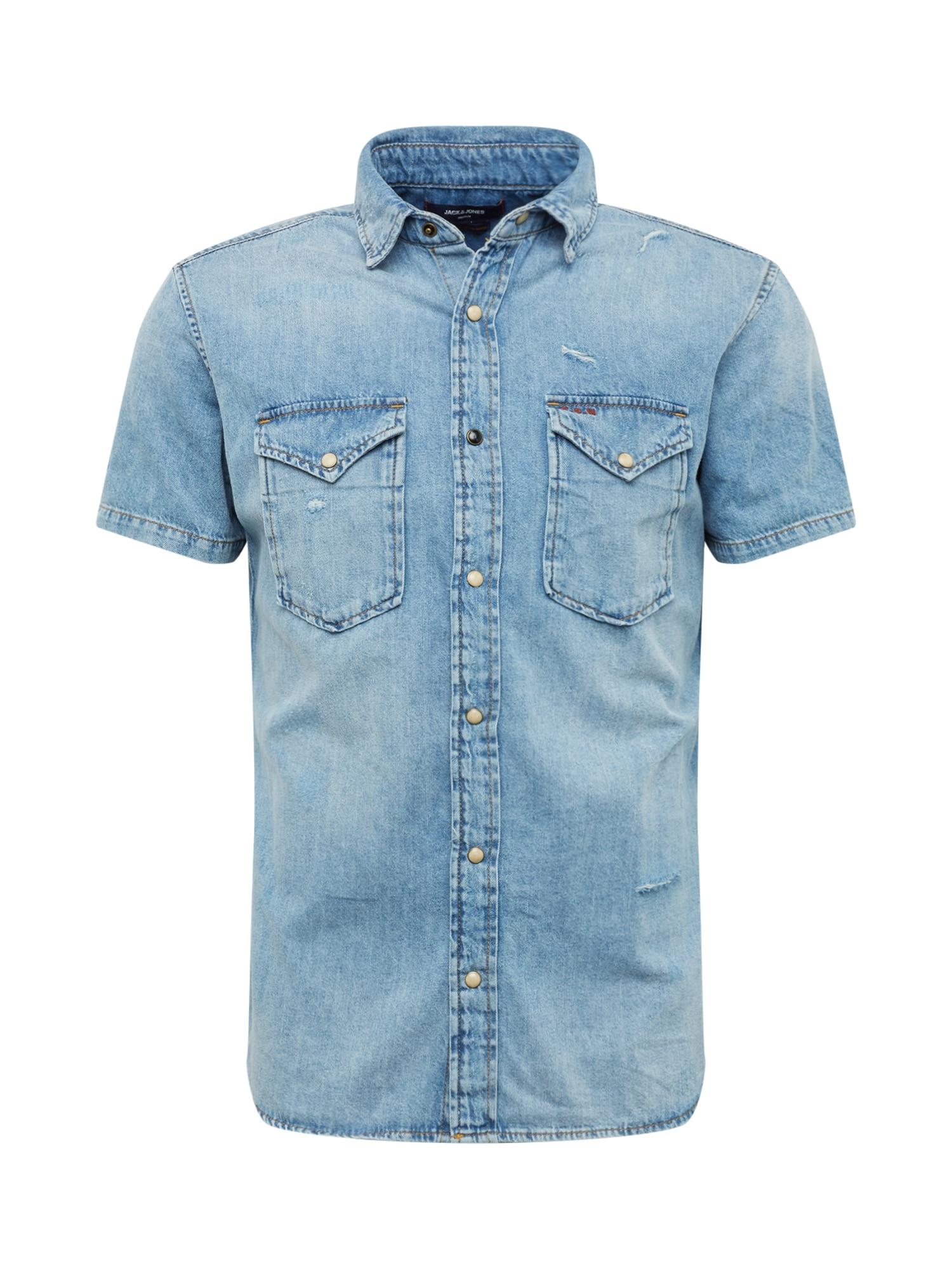 Košile CLAYTON modrá džínovina JACK & JONES