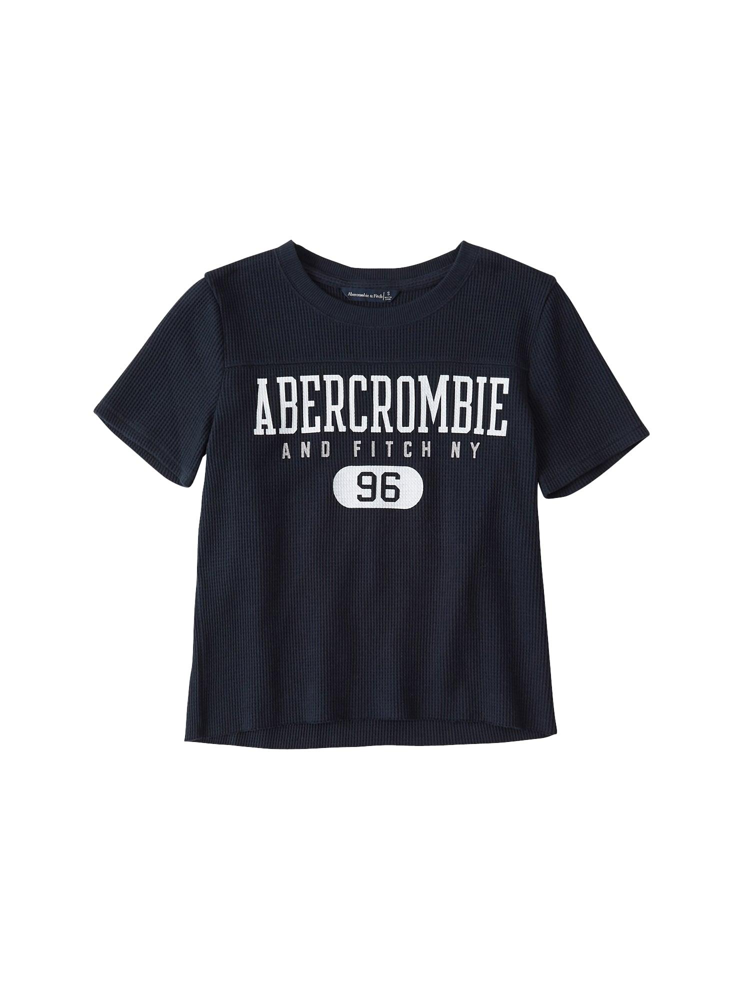 Tričko WAFFLE LOGO TEE námořnická modř bílá Abercrombie & Fitch